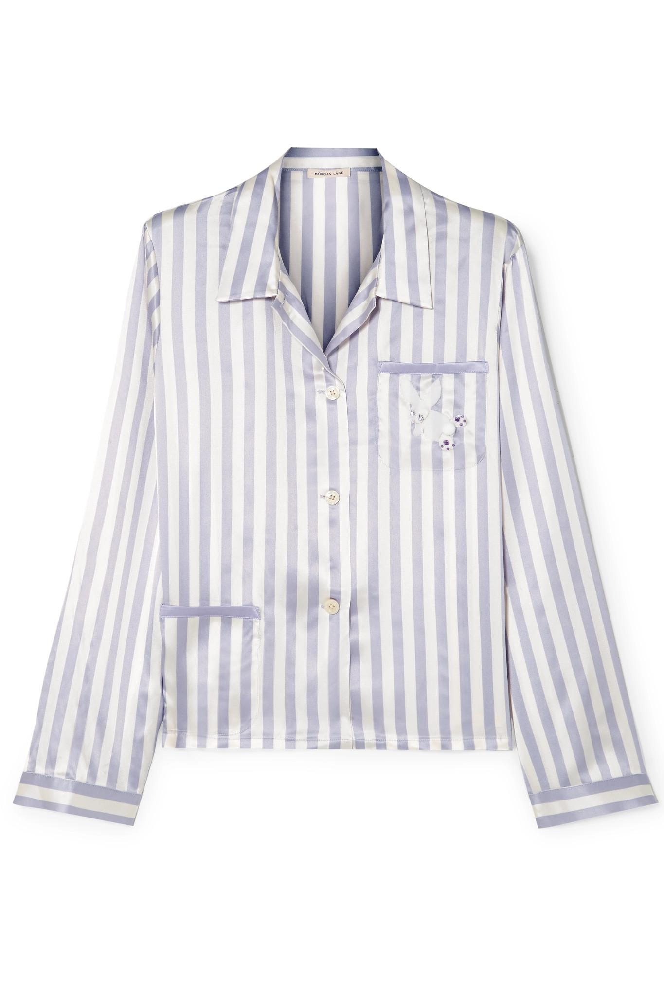 Morgan Lane. Women s Purple + Amanda Fatherazi Ruthie Appliquéd Striped Silk -charmeuse Pyjama Shirt 505cbbbfd