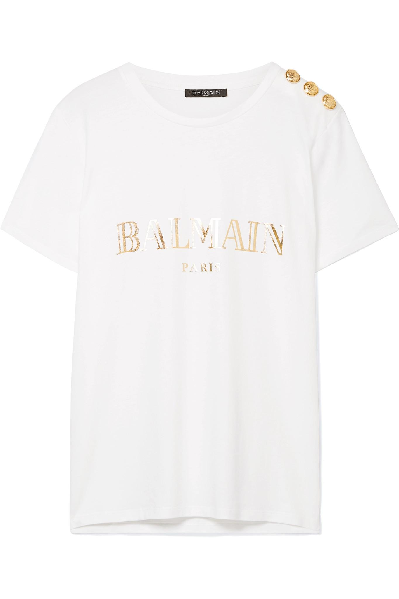 5e0875b8 Balmain - White Button-embellished Printed Cotton-jersey T-shirt - Lyst.  View fullscreen