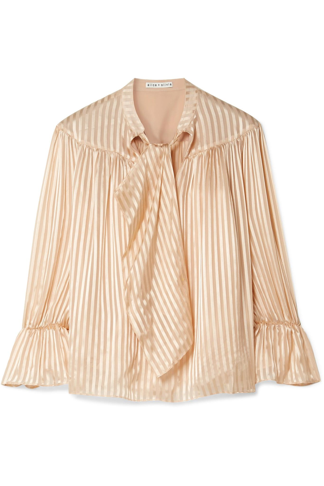 Danika Pussy-bow Striped Satin And Chiffon Blouse - Sand Alice & Olivia Footlocker Sale Online Clearance Wholesale Price EbFR3X37dU