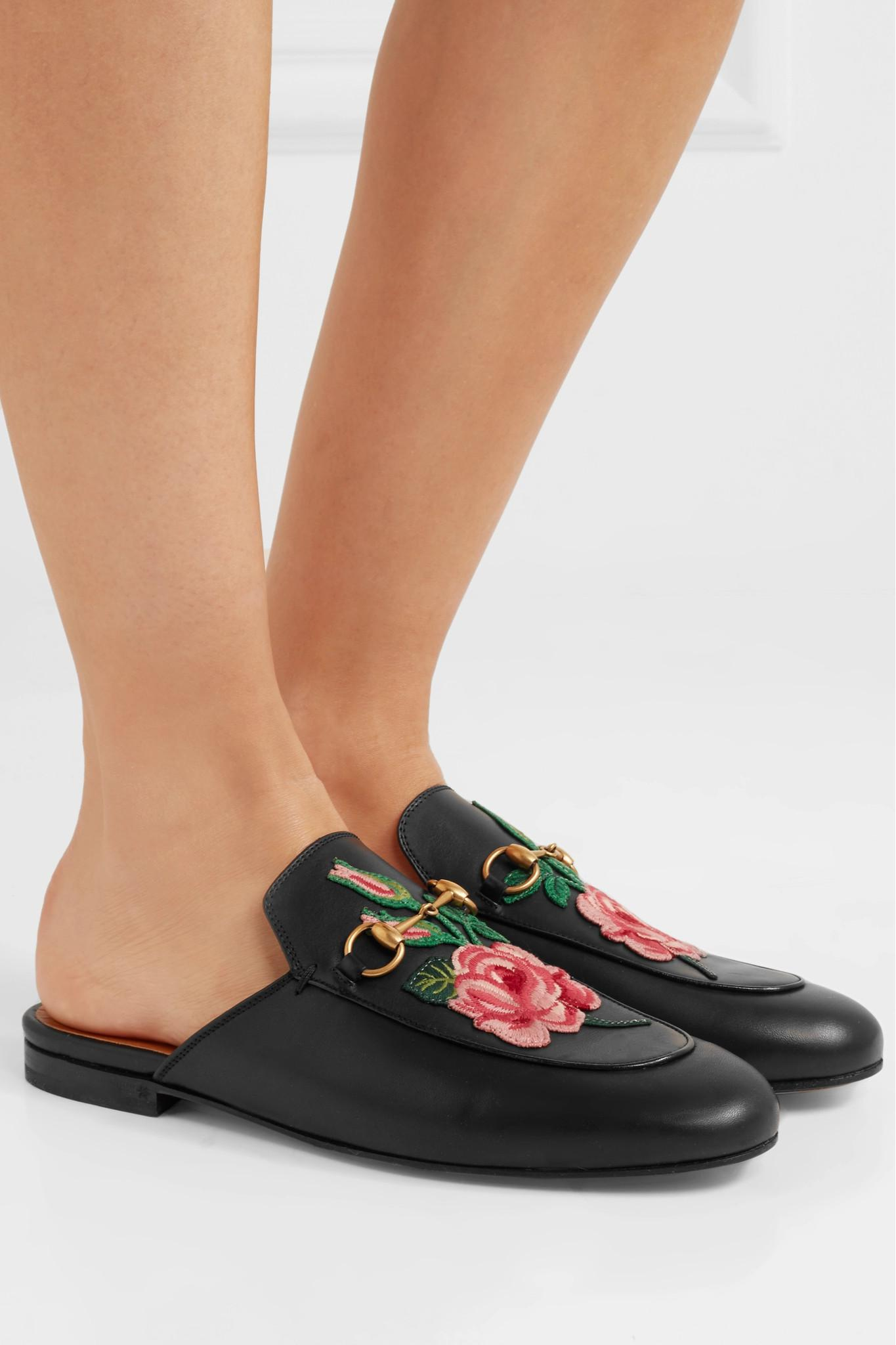 8a38e475ec9 Gucci - Black Princetown Appliquéd Horsebit-detailed Leather Slippers -  Lyst. View fullscreen