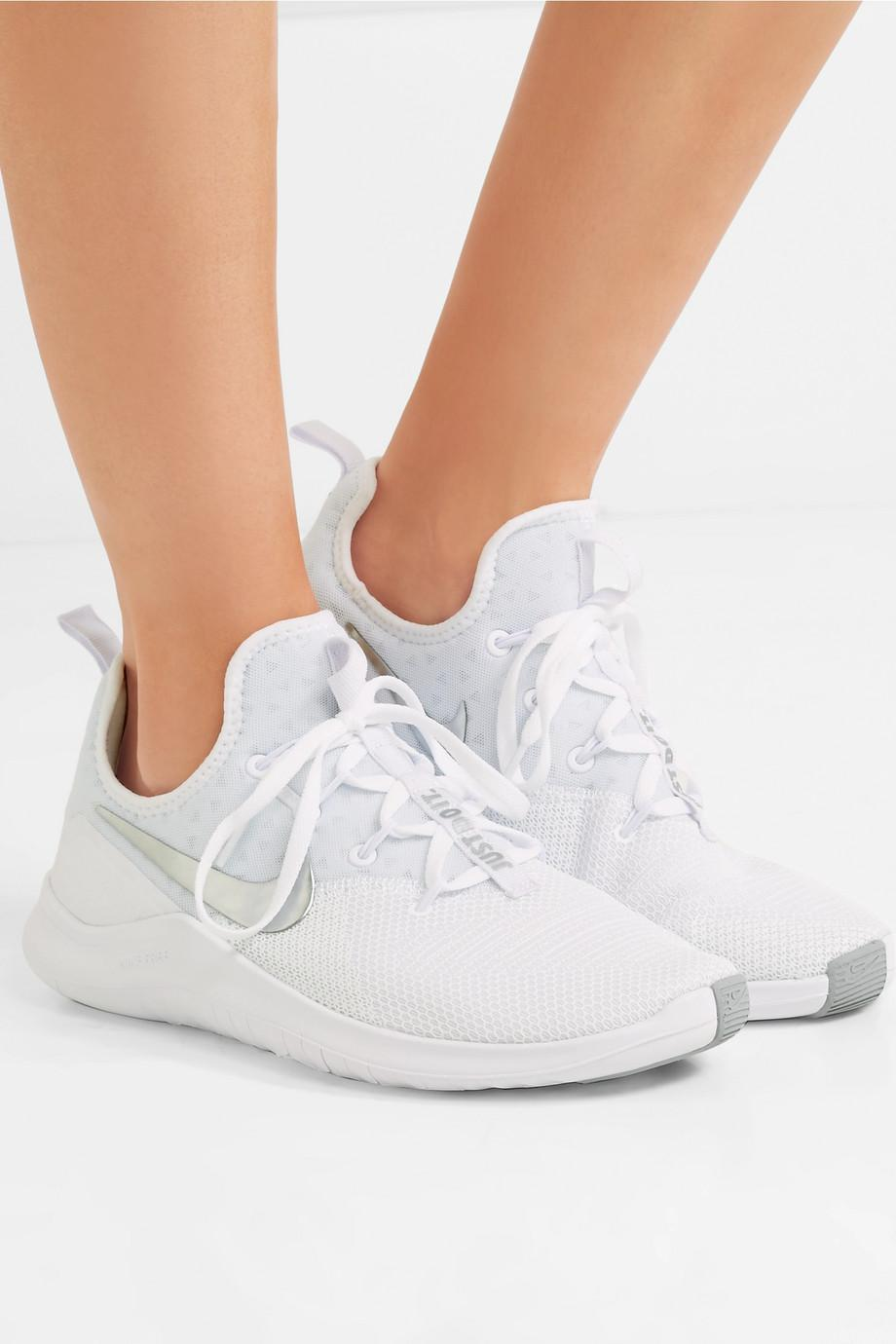 Free Tr 8 Stretch-knit And Mesh Sneakers - White Nike DP6CrJOoMl
