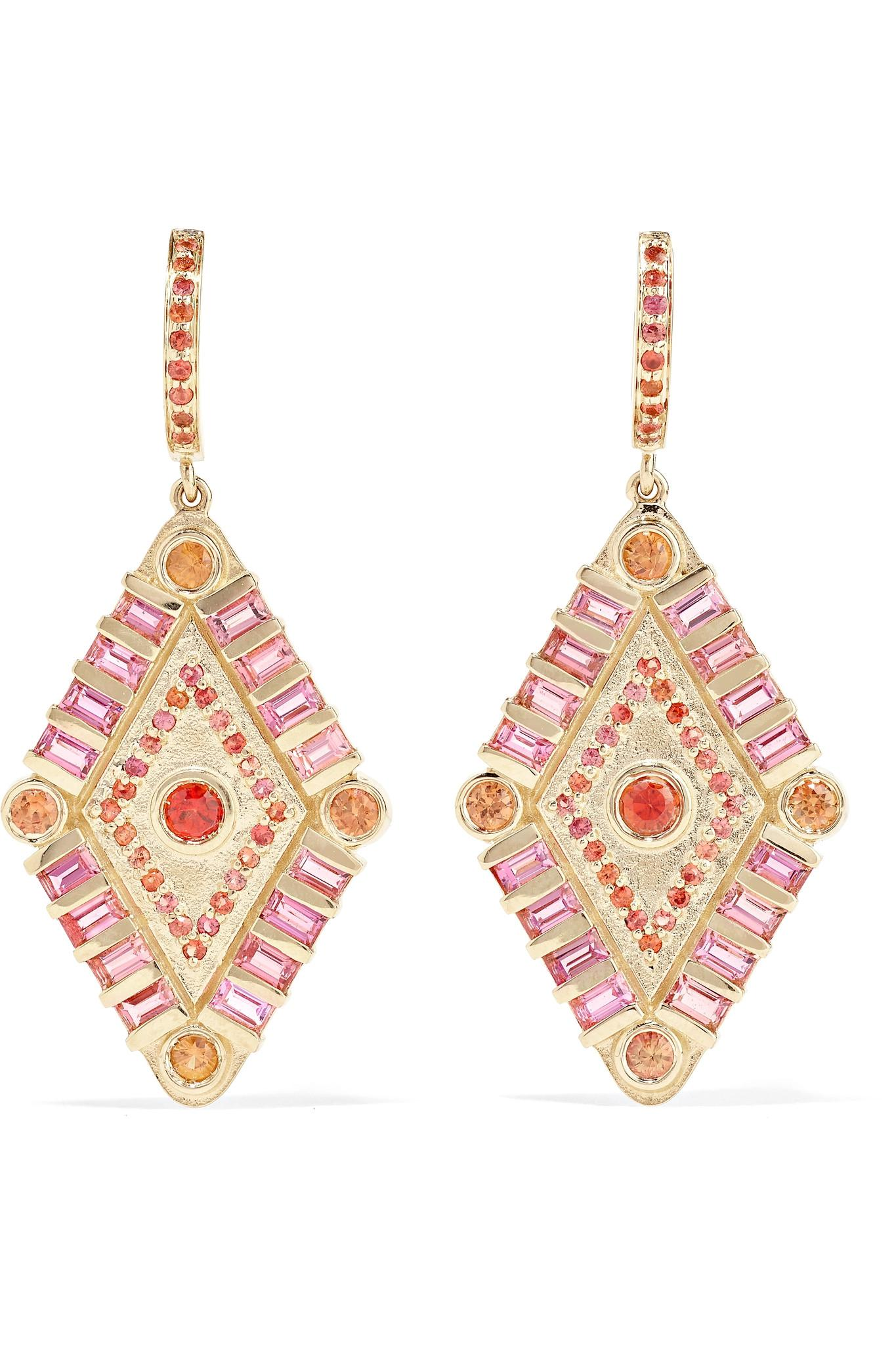 Marlo Laz Shamans Eye 14-karat Gold, Tourmaline And Sapphire Earrings