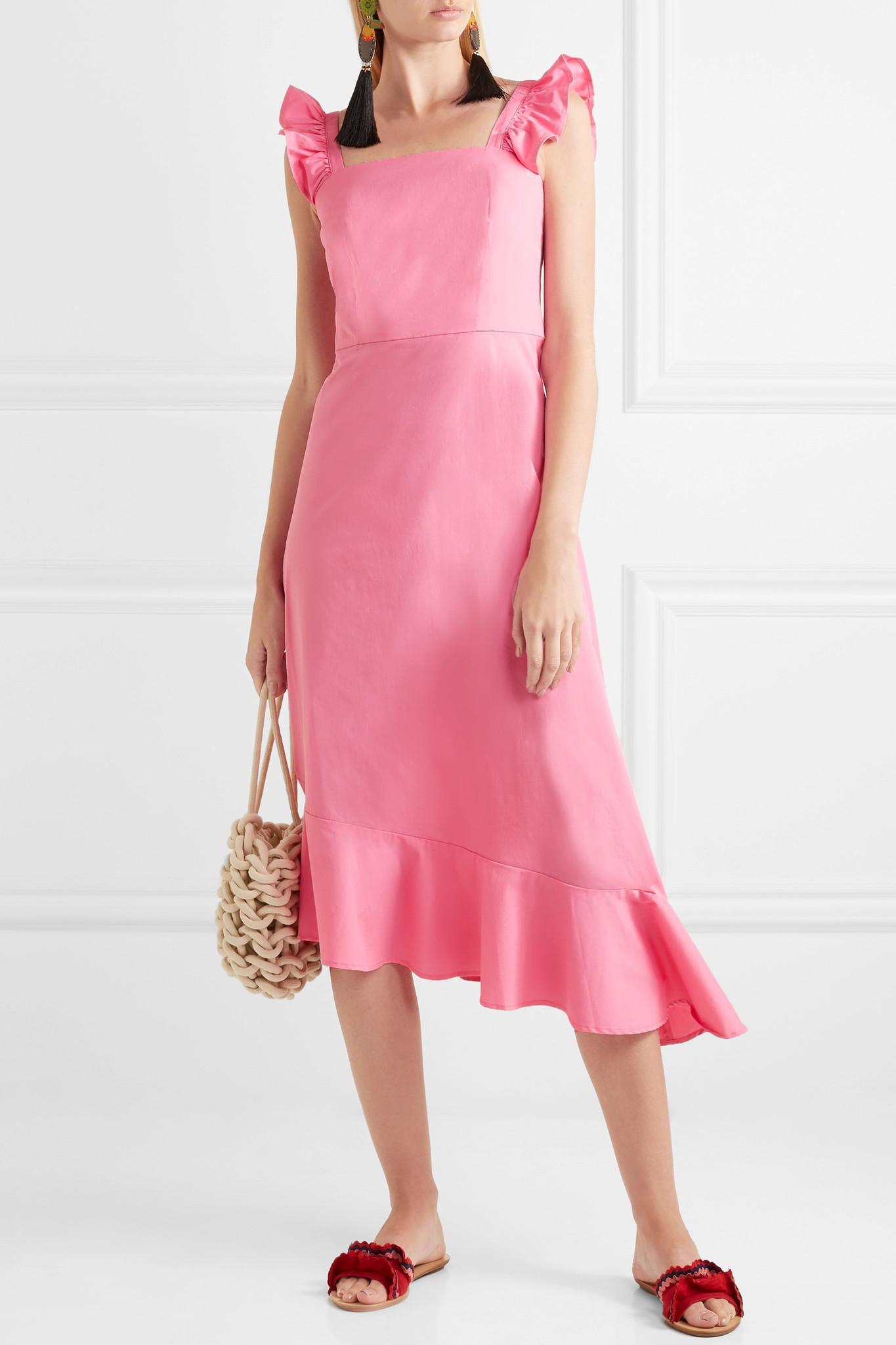 Valentina Ruffled Stretch-cotton Poplin Dress - Pink Staud VkTtc