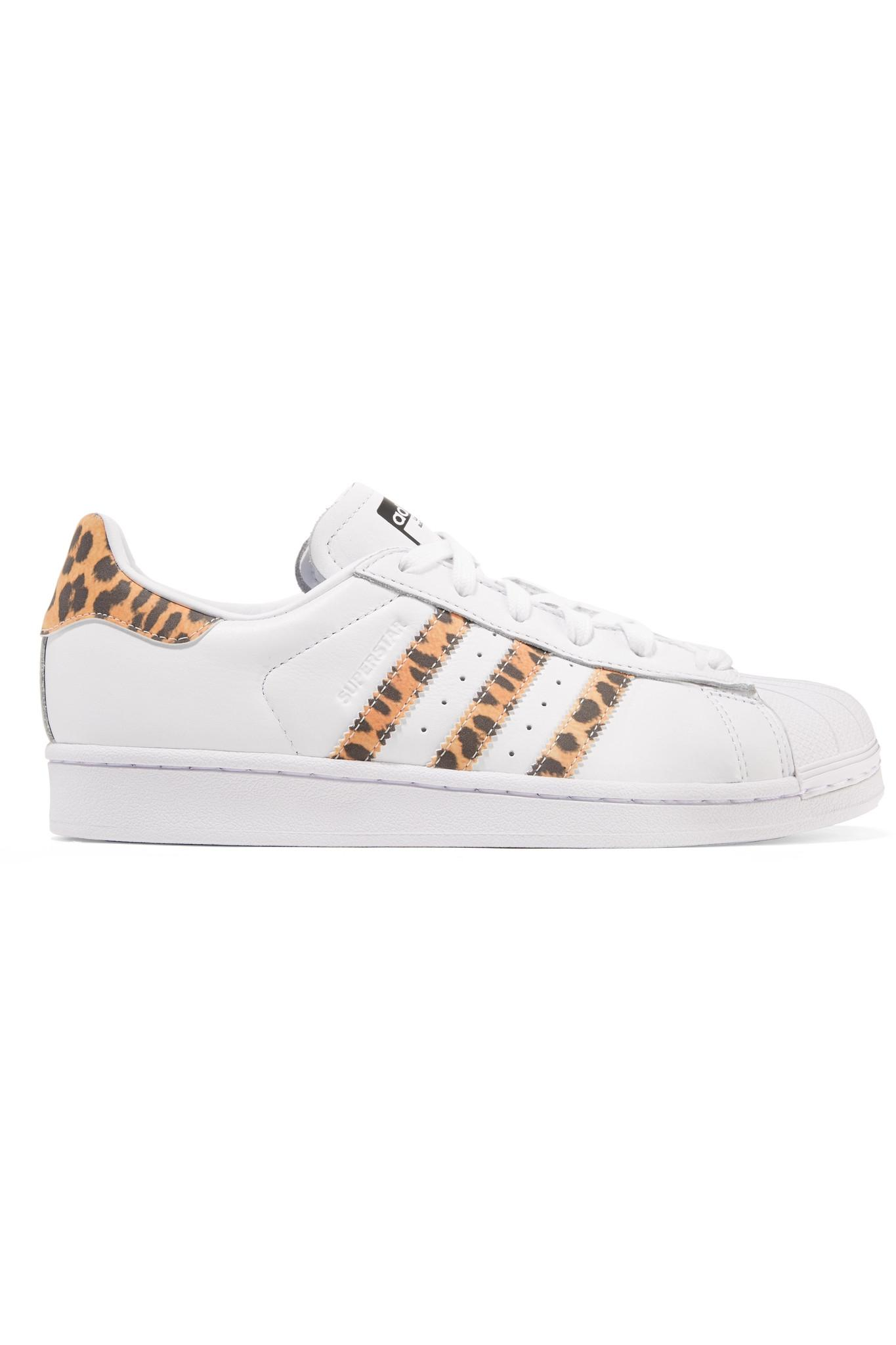 74c39fb5979f adidas Originals Superstar Leopard Print-trimmed Leather Sneakers in ...
