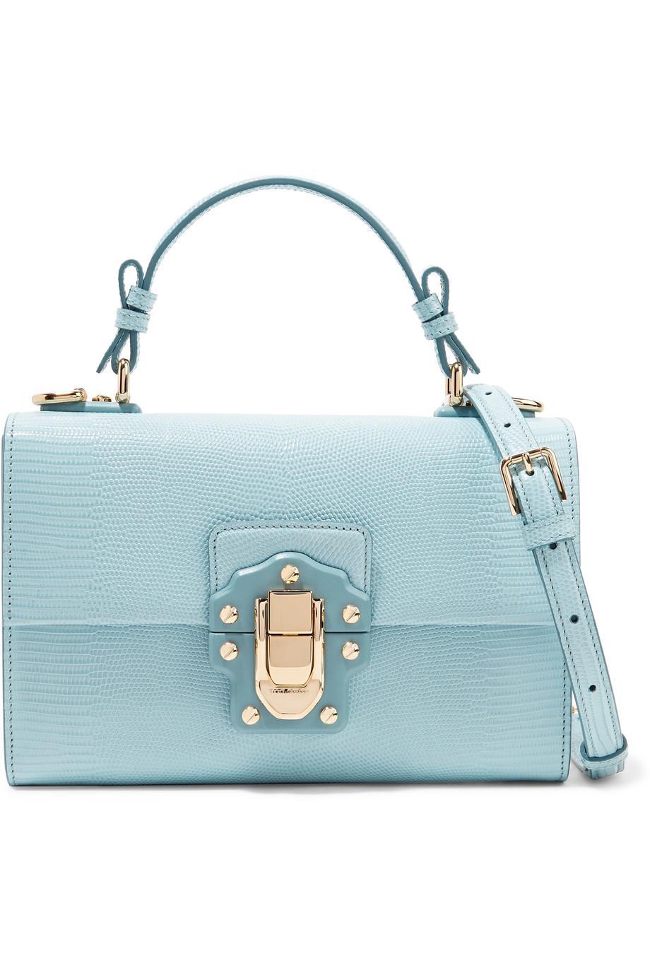 Lucia Lizard-effect Leather Shoulder Bag - Sky blue Dolce & Gabbana gBhl7w