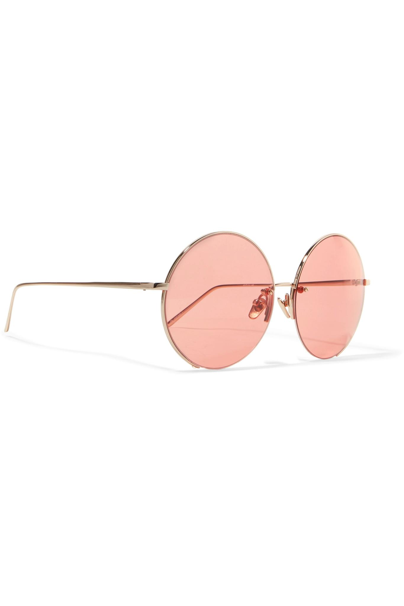 8e5d6dc1e09 Lyst - Linda Farrow Round-frame Gold-plated Mirrored Sunglasses in ...