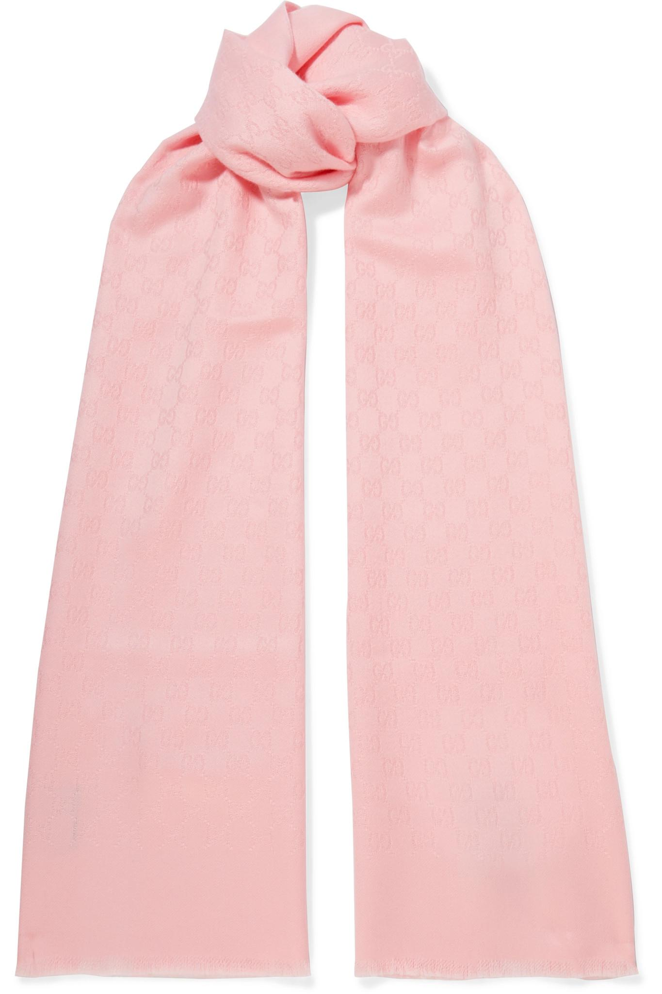 afdf10eb3fb Lyst - Gucci Cashmere-jacquard Scarf in Pink