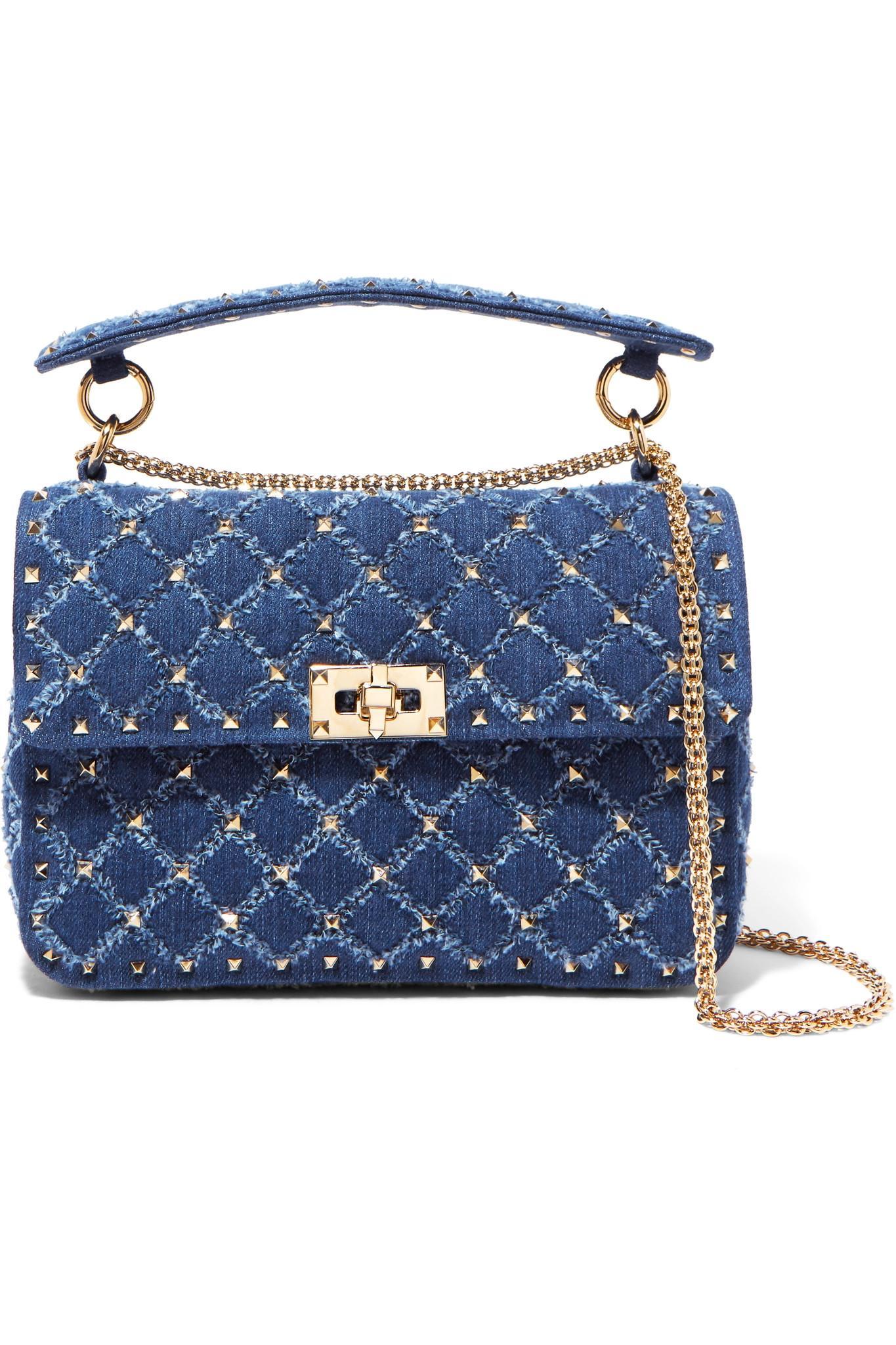 e6f05ec9e9 Valentino. Women's Blue Garavani The Rockstud Spike Medium Quilted Denim  Shoulder Bag