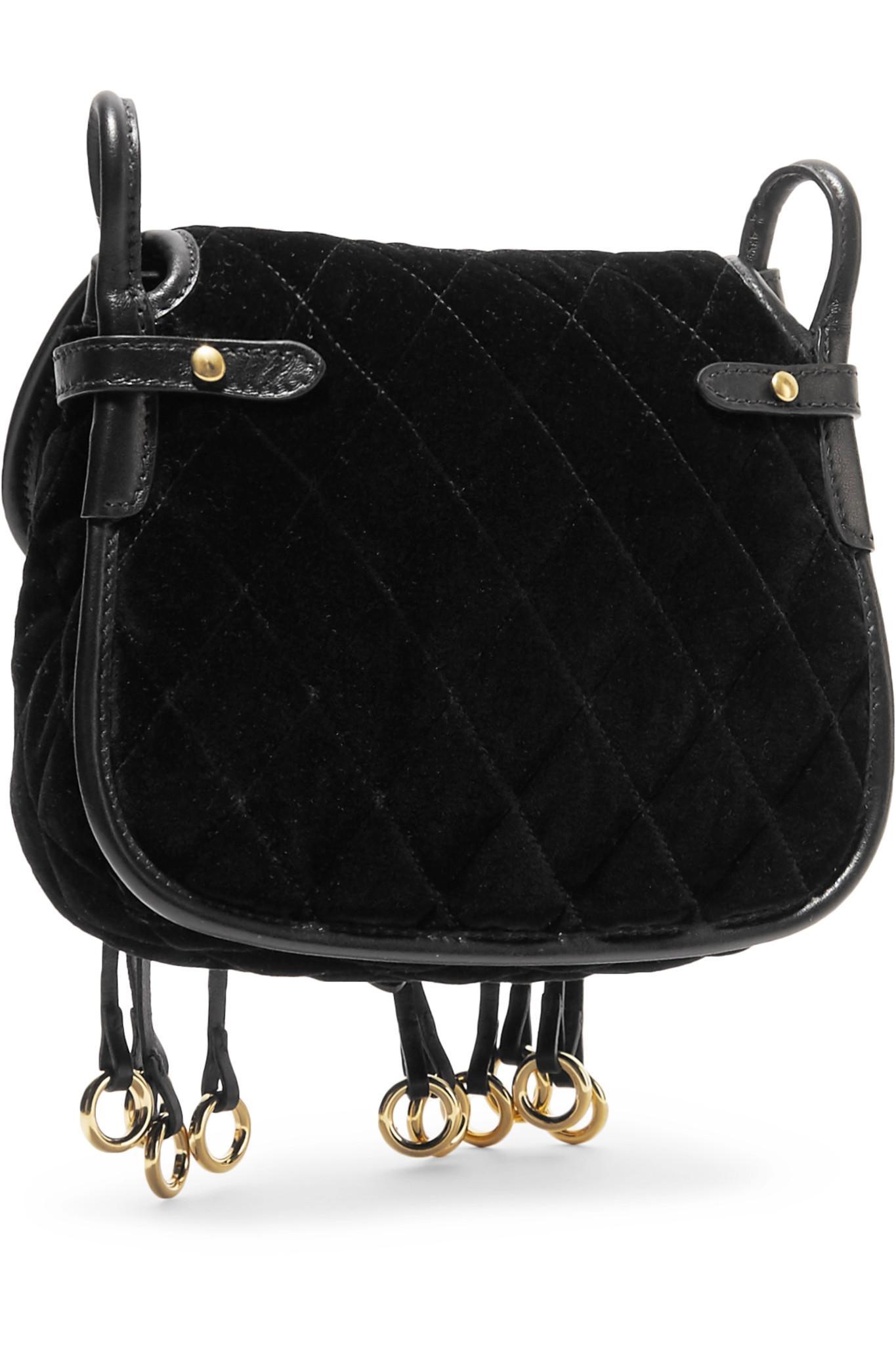 26159d5b2ea0 ... buy lyst prada messenger leather trimmed quilted velvet shoulder bag  8d64e 23a3e