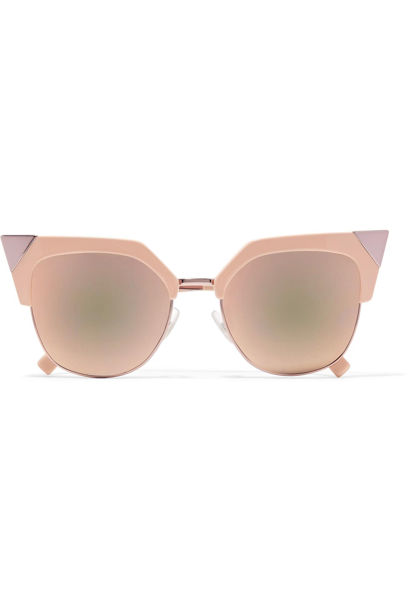 6d6f98402e9e Fendi Iridia Cat-eye Rose Gold-tone Mirrored Sunglasses in Pink - Lyst