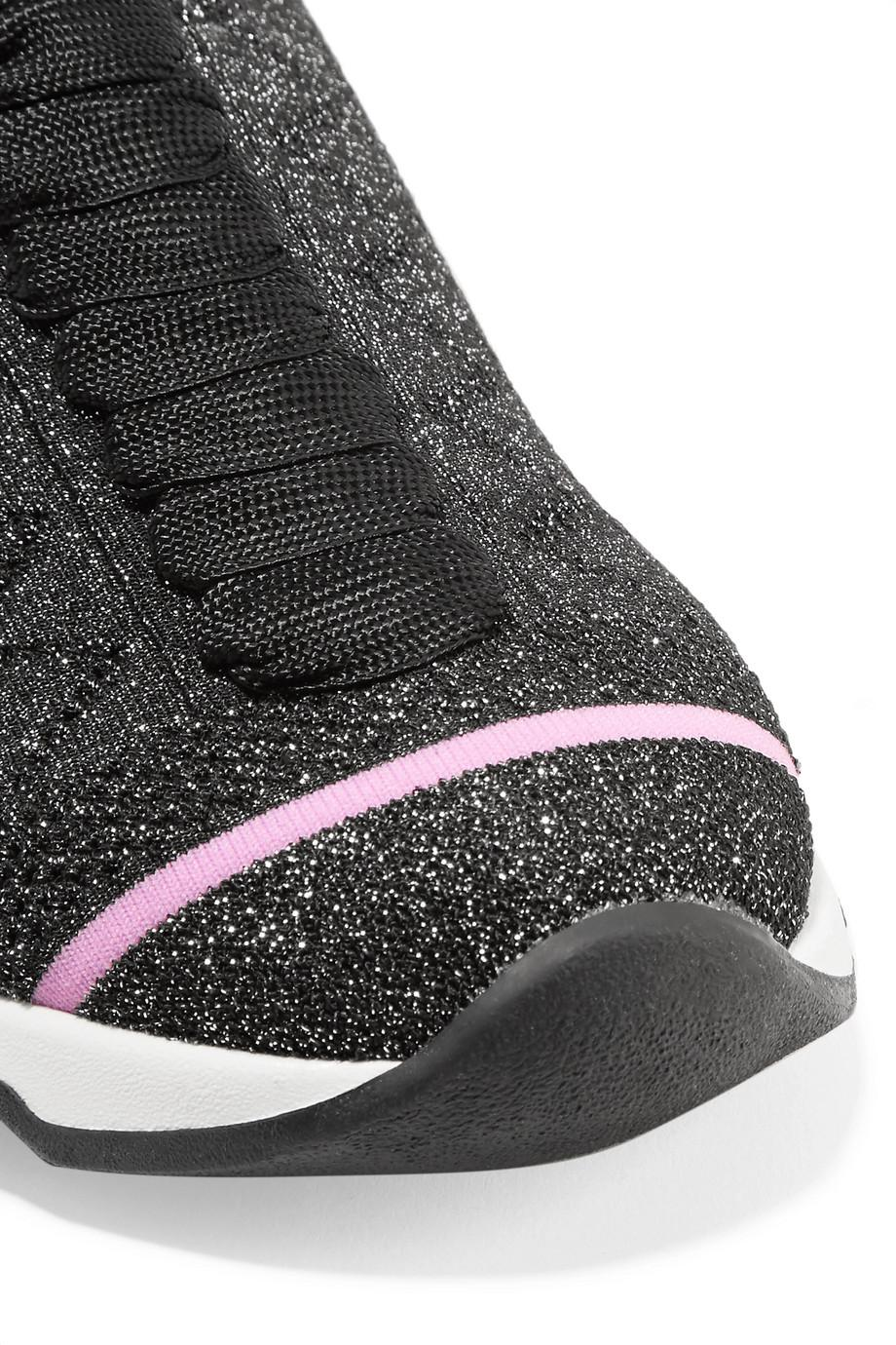 Metallic Stretch-knit Sneakers - Gunmetal Fendi 7oDcNL0i