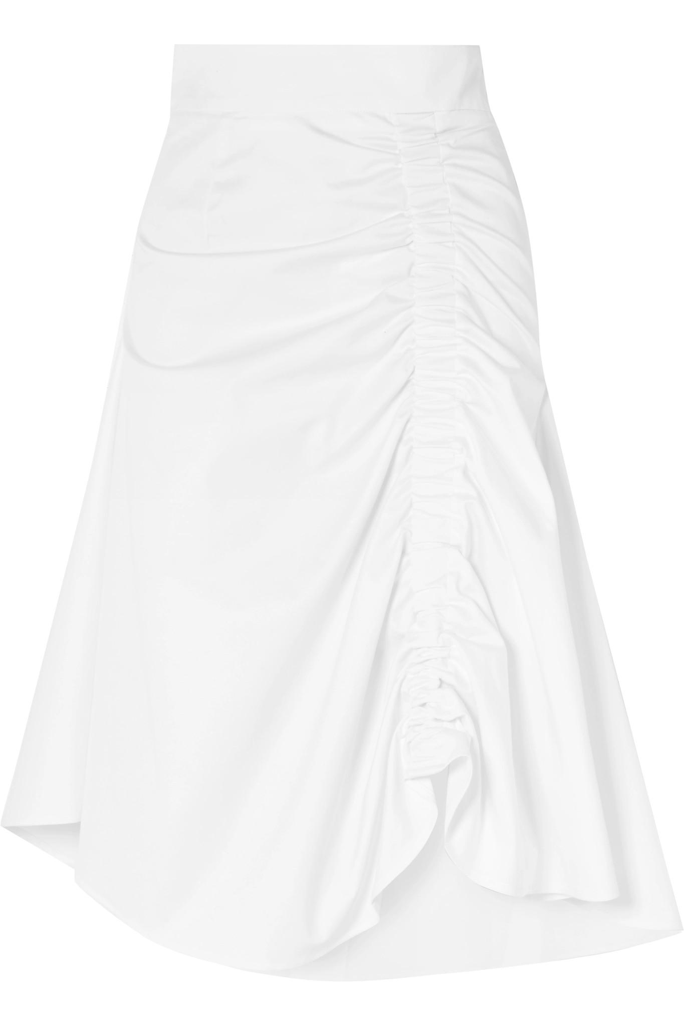 Ruched Cotton-blend Midi Skirt - White Sid Neigum Best Choice hNtOBD