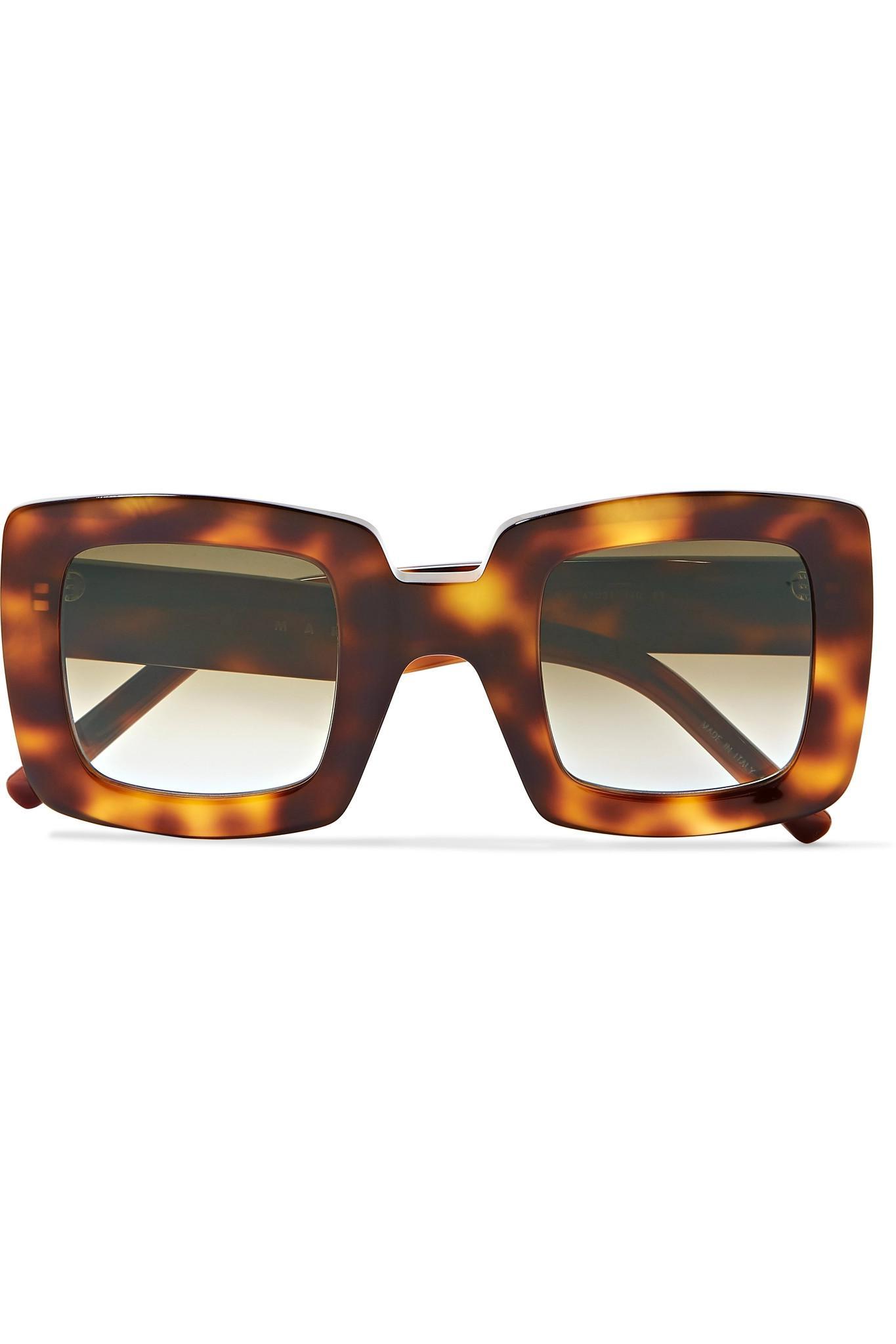 95d7afe5bdf Marni. Women s Oversized Square-frame Tortoiseshell Acetate Sunglasses
