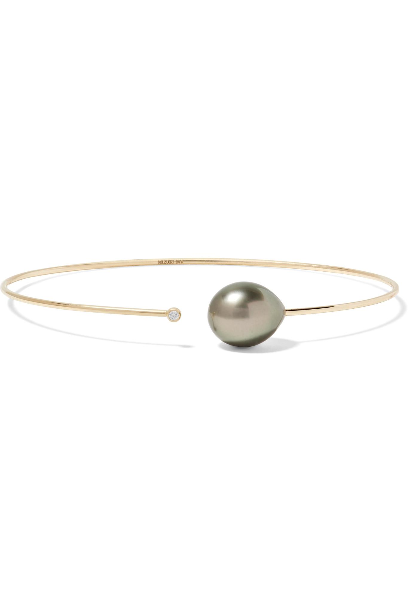 Mizuki 14-karat Gold Pearl Cuff IRbTYVhM