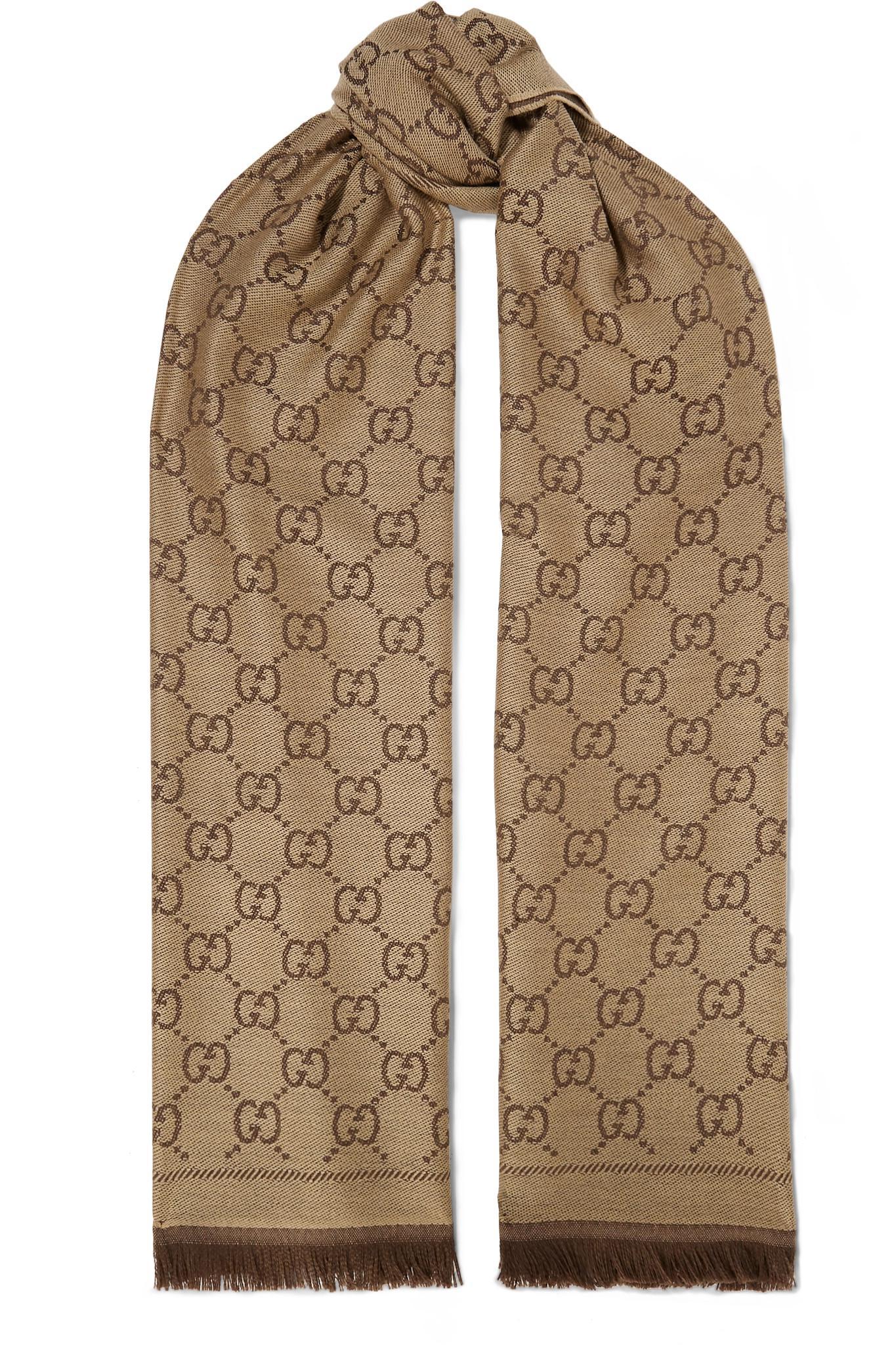b0a0f5cecc7 Lyst - Gucci Sten Reversible Intarsia Wool Scarf in Brown
