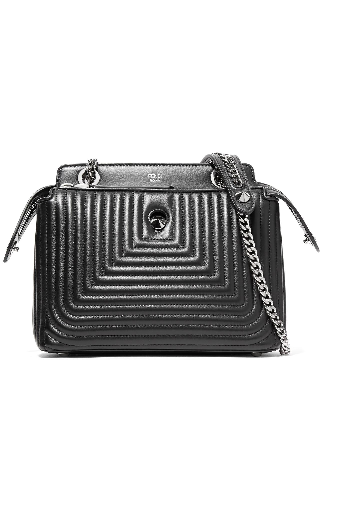 4aaaf08953f7 Lyst - Fendi Dotcom Click Quilted Leather Shoulder Bag in Black