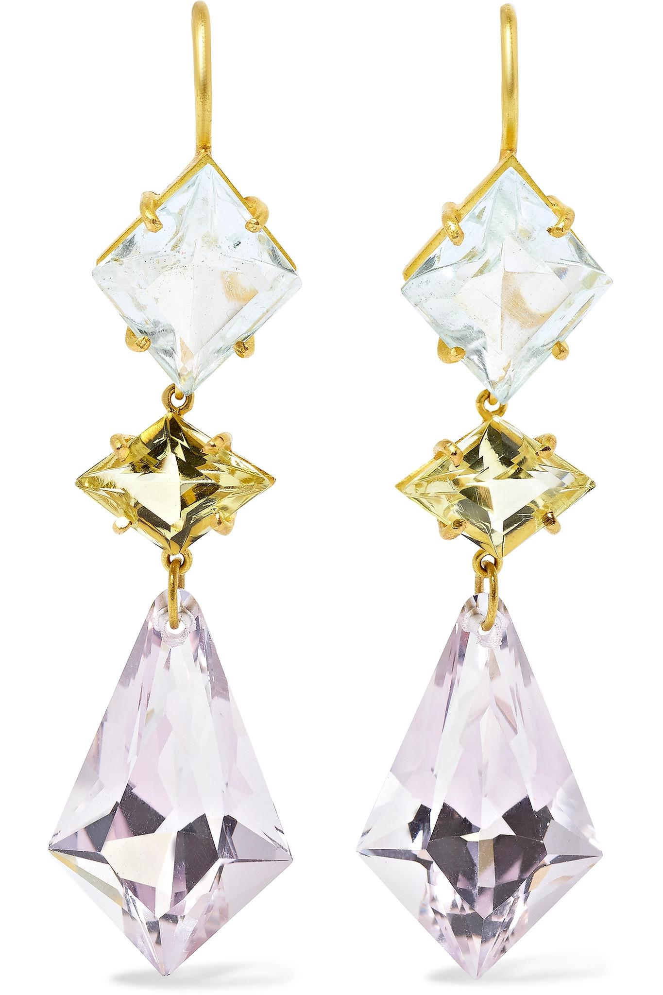 Marie Helene De Taillac triple stones earrings Free Shipping Authentic GLyzcS