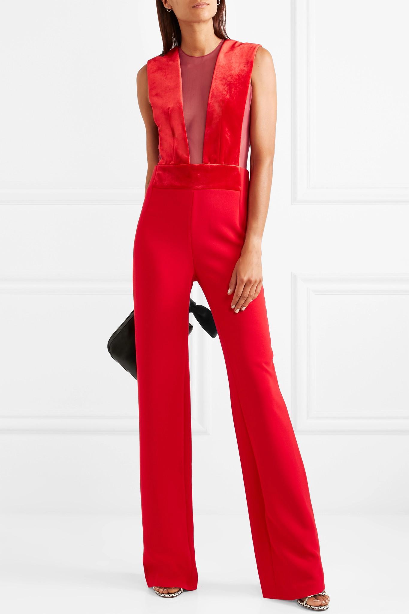 40959ccc65ec Galvan - Red Gwyneth Velvet And Tulle-paneled Crepe Jumpsuit - Lyst. View  fullscreen