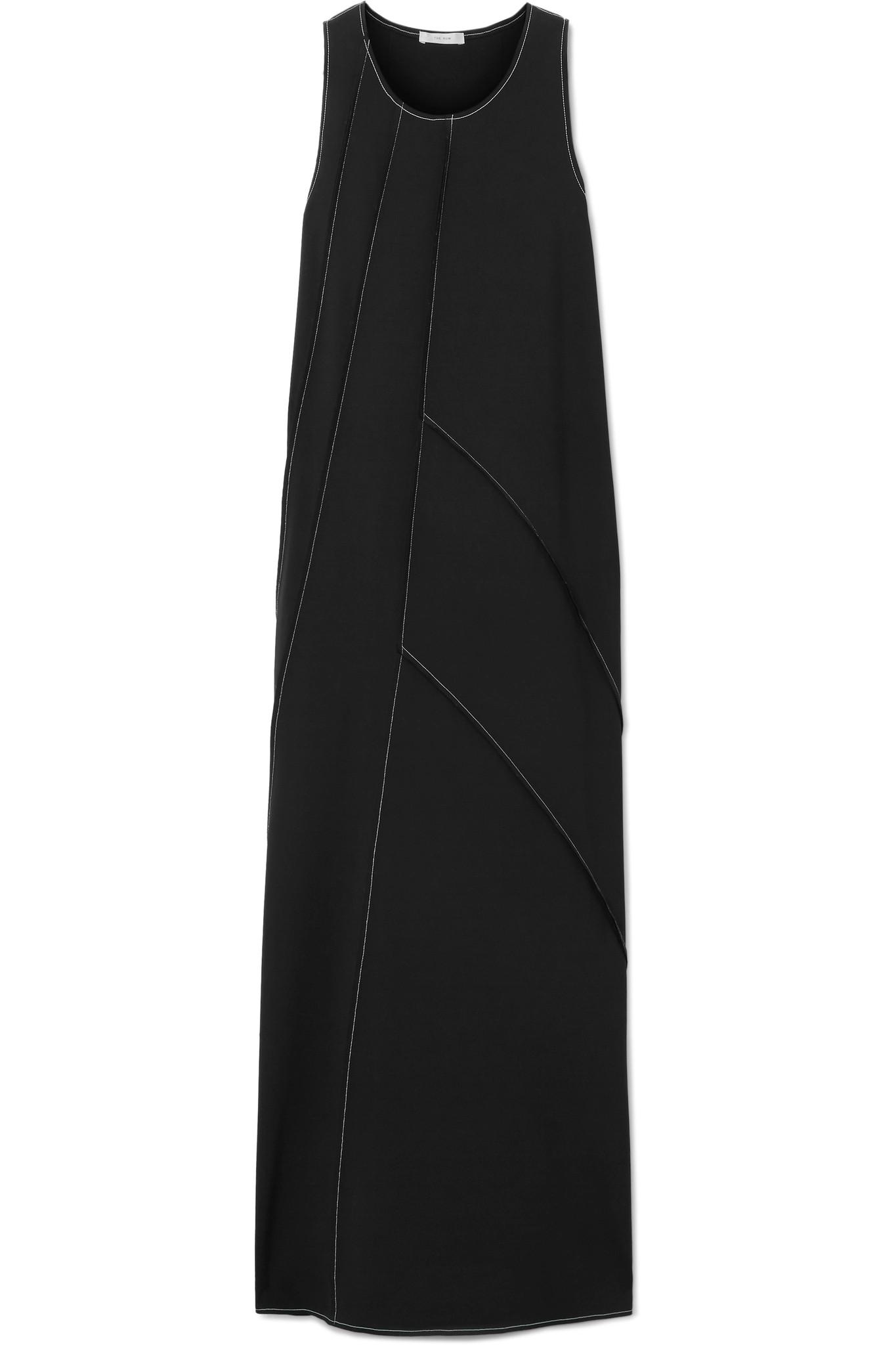 Didi Paneled Stretch-cady Maxi Dress - Black The Row Buy Online Authentic Online Cheapest  Buy Cheap 100% Original RIic8KWd8O