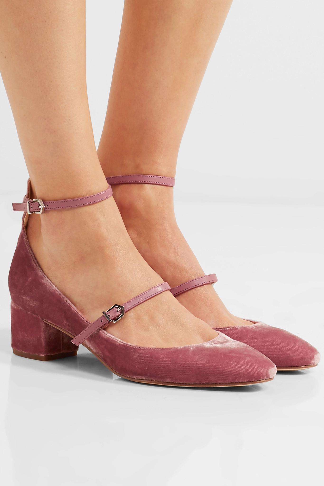 0b59d29a4 Lyst - Sam Edelman Lulie Leather-trimmed Velvet Pumps in Pink
