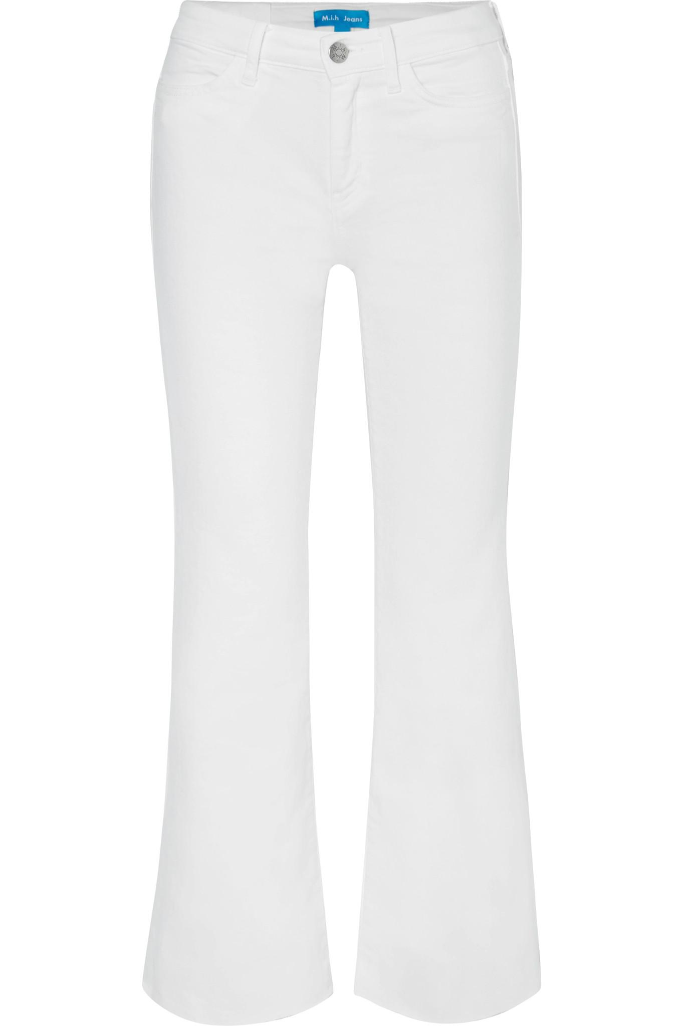 Lou Frayed Cropped High-rise Flared Jeans - White Mih Jeans Q7oONT