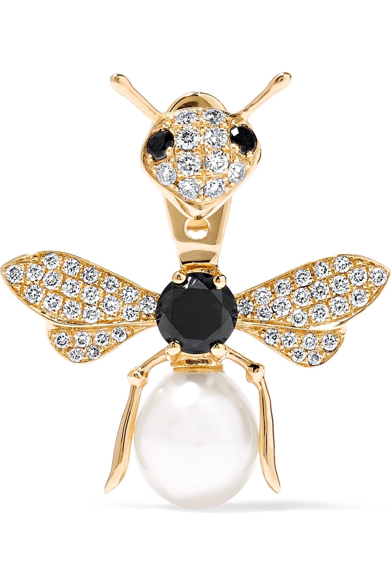 Yvonne Léon 18-karat Gold, Pearl And Sapphire Earring