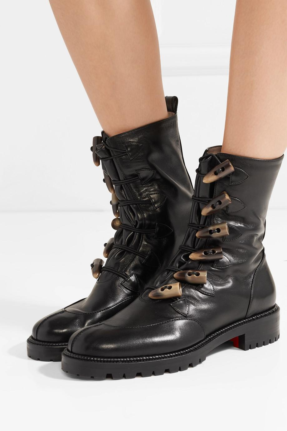 Popular And Cheap Kloster Shearling-lined Leather Boots - Black Christian Louboutin Good Service HahLF0