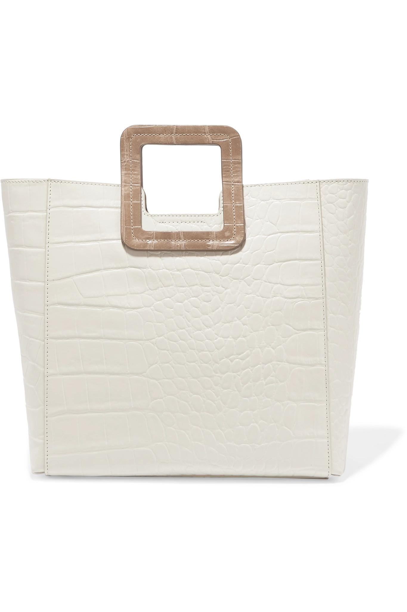 b57dd400ca STAUD Shirley Two-tone Croc-effect Leather Tote in Natural - Lyst