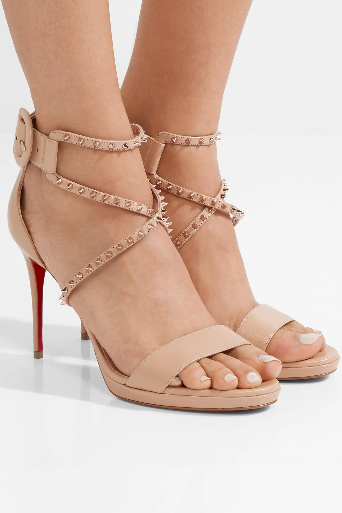c6d747ea003 Christian Louboutin Choca Lux 100 Studded Leather Sandals - Lyst