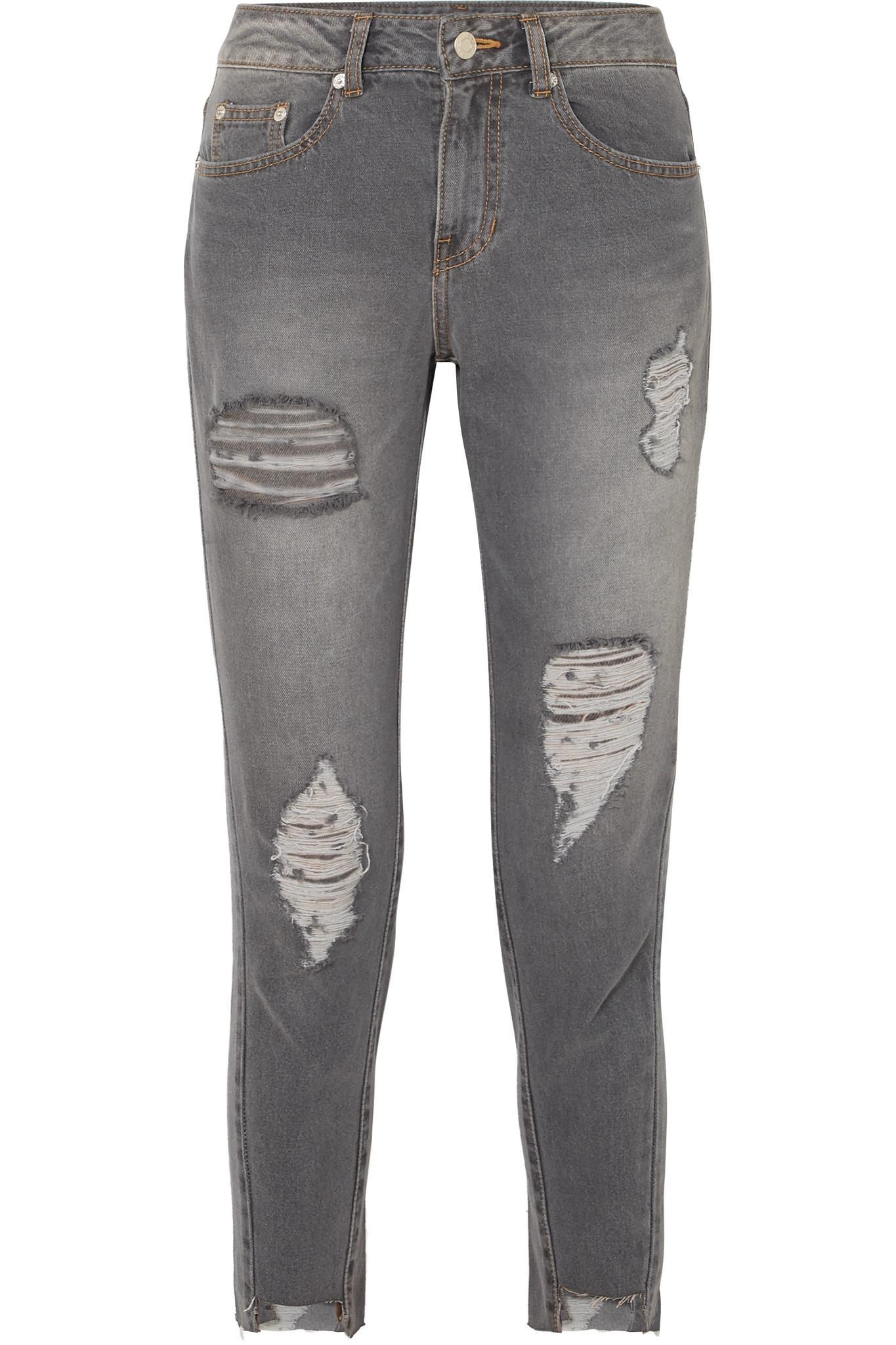Recadrées En Difficulté À Mi-hauteur Jeans Skinny Gris - Sjyp 5XXz8ZRfJ