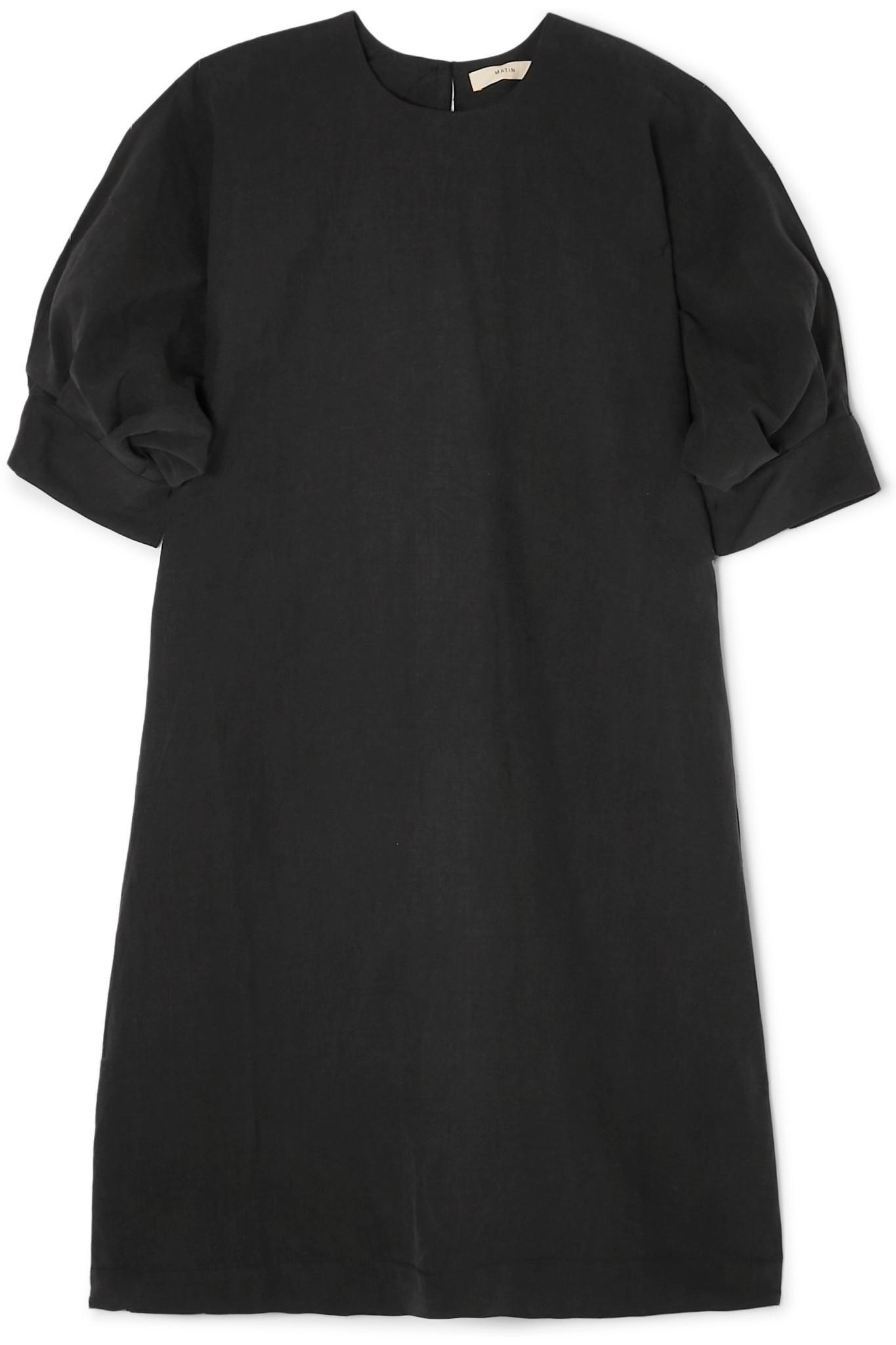 a98313e53f73 Lyst - Matin Cortona Silk And Linen-blend Mini Dress in Black
