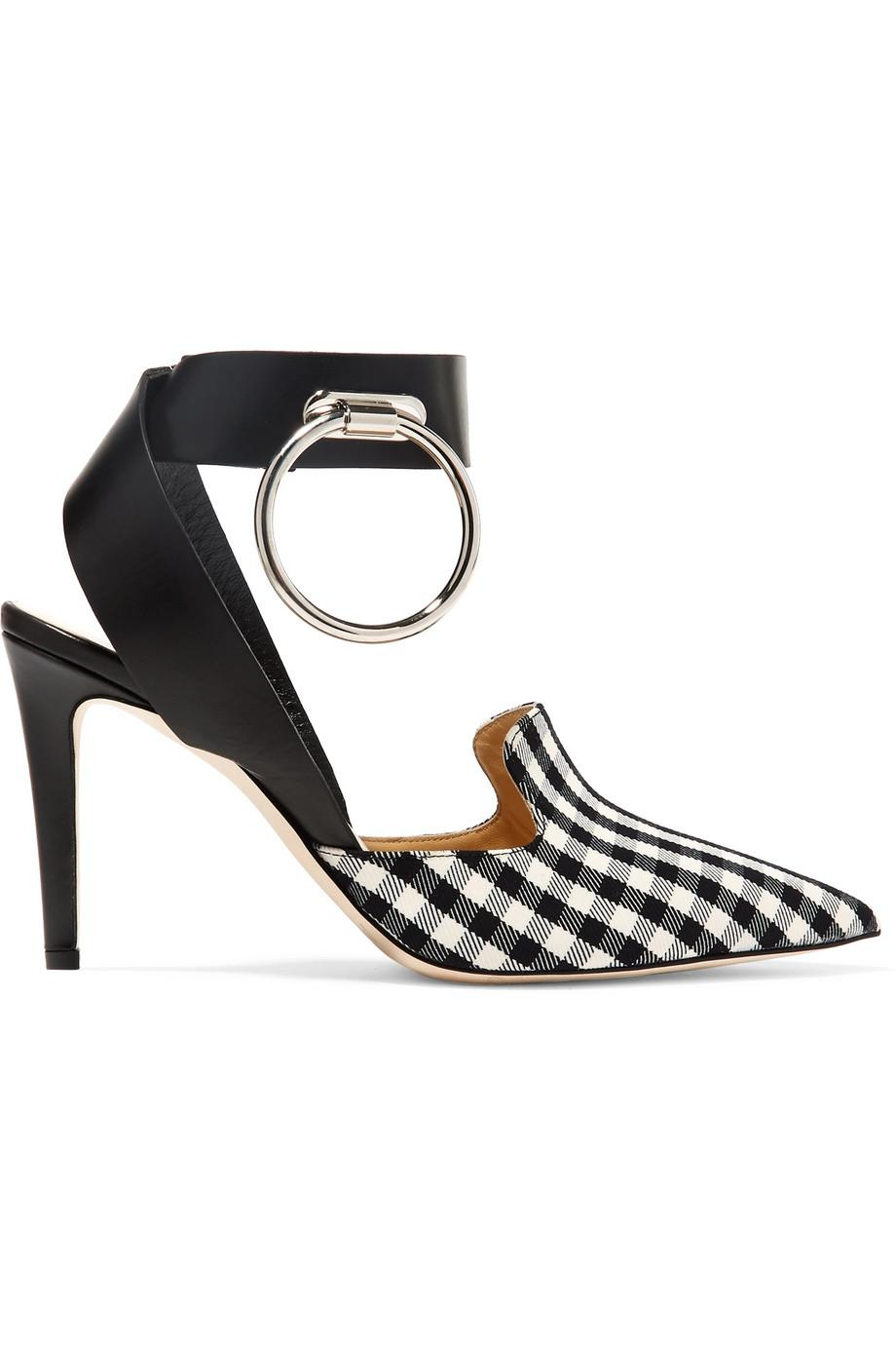 Embellished Leather And Gingham Twill Pumps - Black Monse qqzzZXr9l2