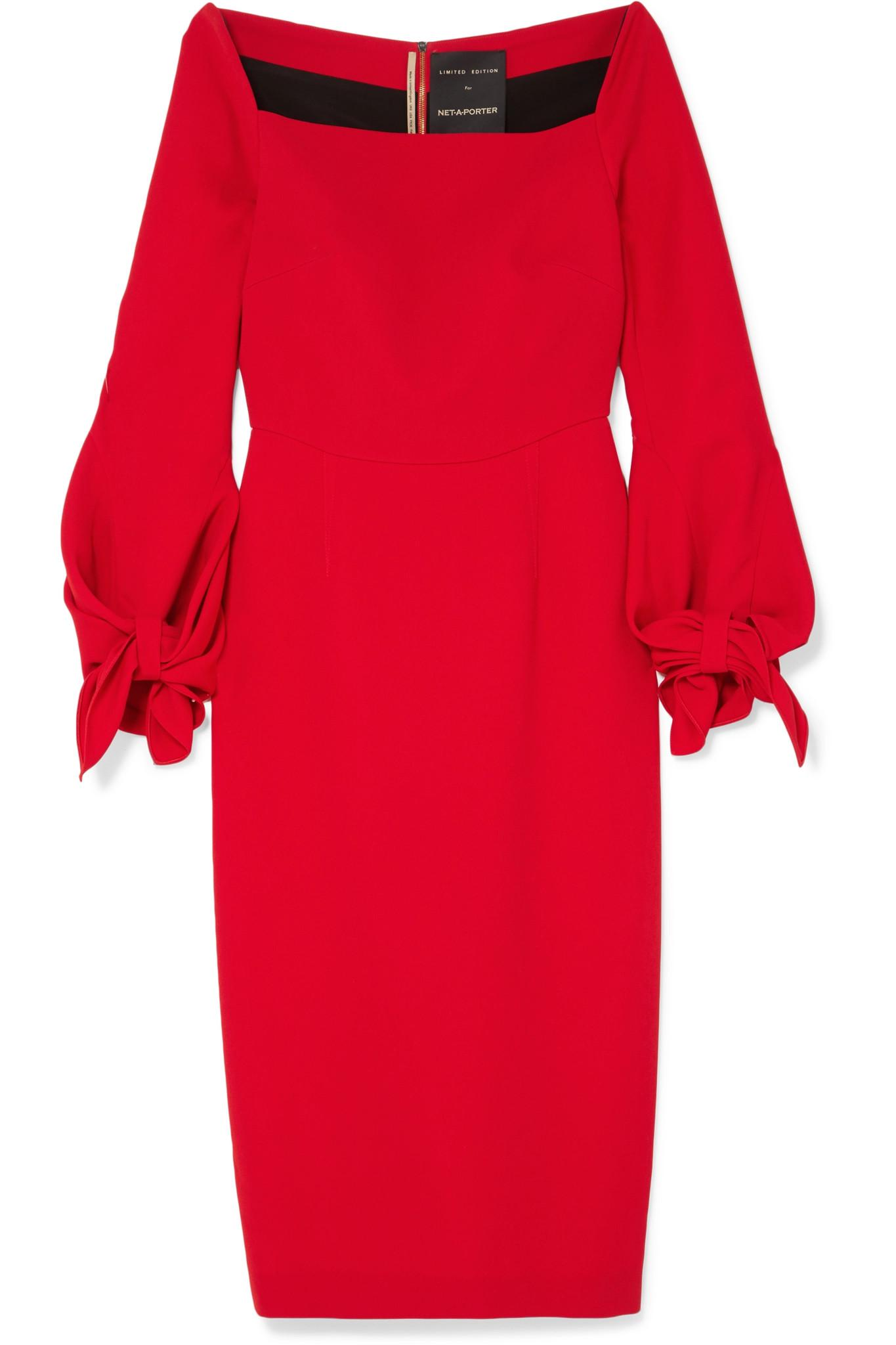 Mapplewell Bow-detailed Crepe Dress - Red Roland Mouret Newest Cheap Online New Lower Prices Nmq35M0