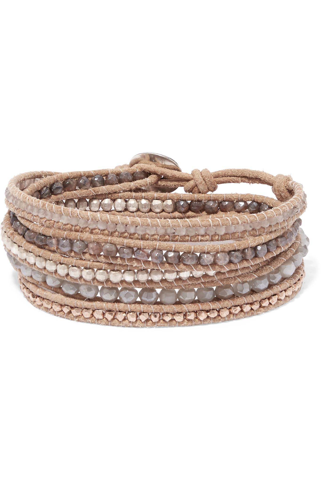 Chan Luu Chan Luu Woman 18-karat Rose Gold-plated Beaded Leather Bracelet Brown Size