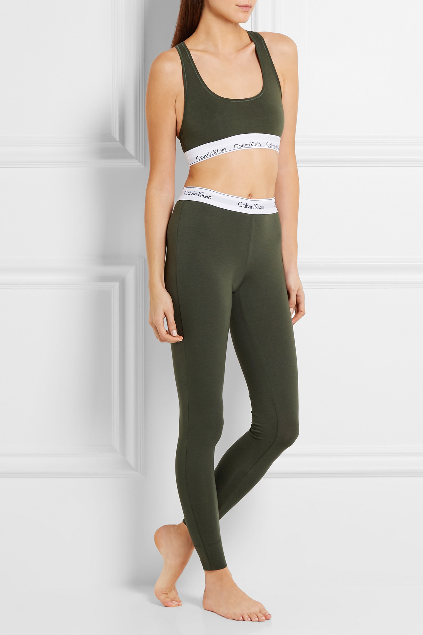 bbb5863390 Lyst - Calvin Klein Modern Stretch Cotton-blend Leggings in Green