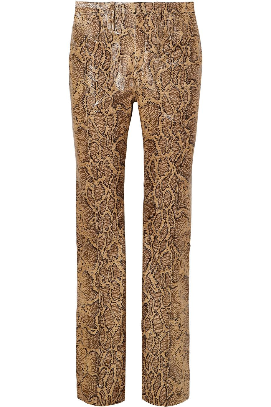 Snake-effect Leather Straight-leg Pants - Tan Chloé dpcBsCh9E