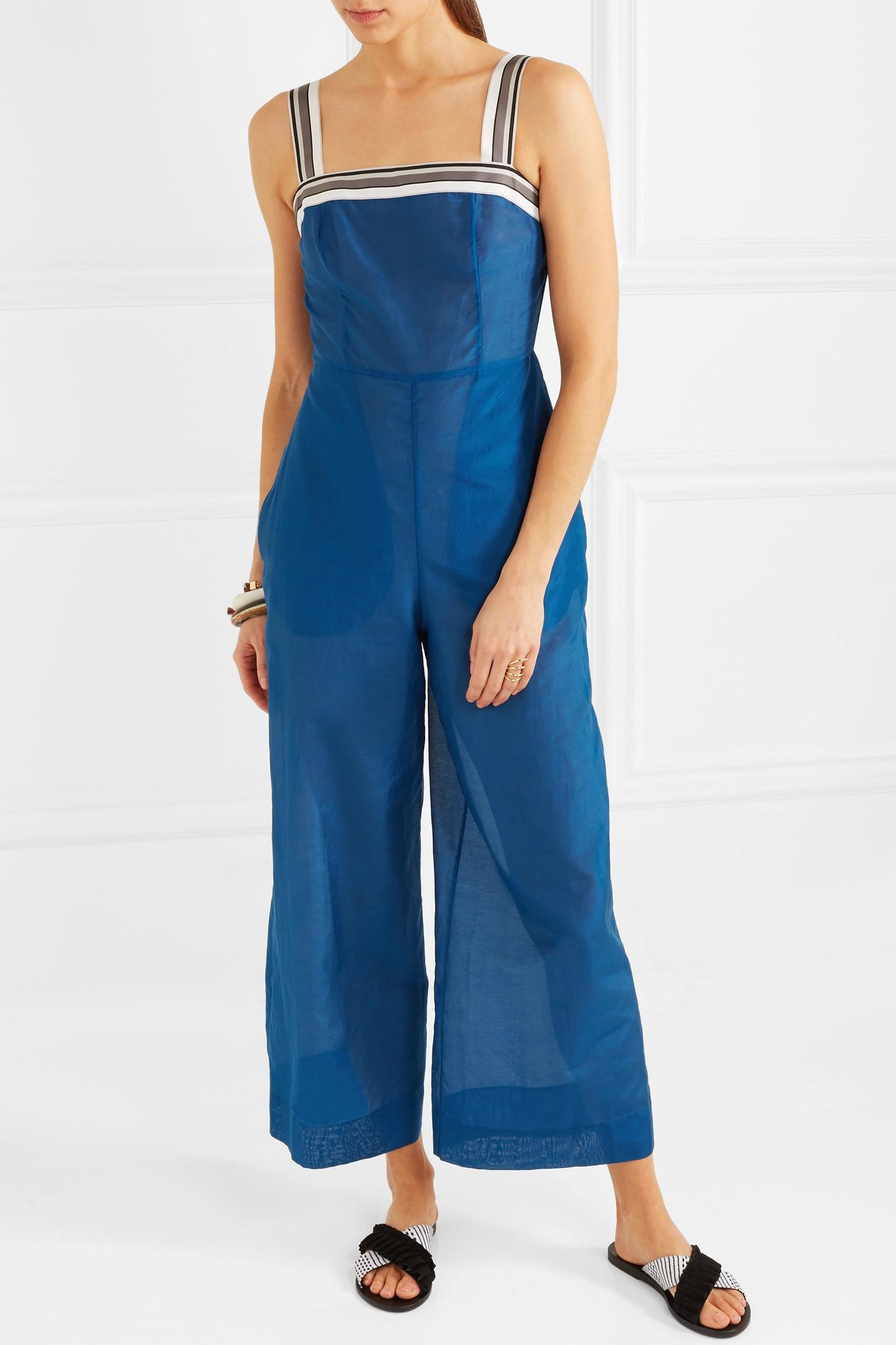 Cheap With Paypal Striped Grosgrain-trimmed Cotton And Silk-blend Jumpsuit - Blue Diane Von Fürstenberg Buy Cheap Pay With Paypal Sale Online Shopping Cheap Factory Outlet Best Place To Buy Lpiph74pzs