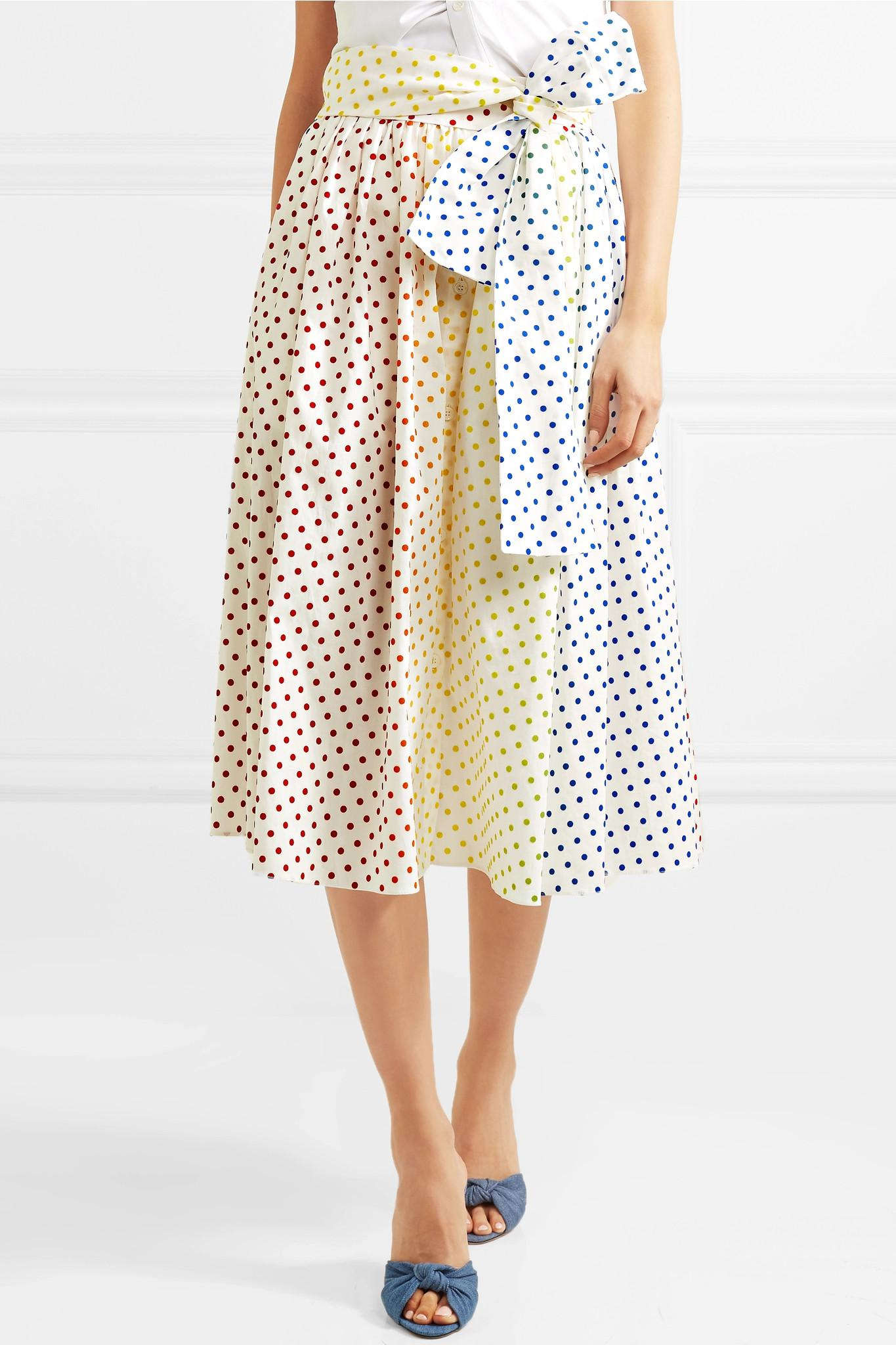 Polka-dot Flocked Cotton-blend Poplin Midi Skirt - White Rosie Assoulin Discount Choice Popular For Sale Best Prices Sale Online Buy Cheap Official Sale Newest SWHoL