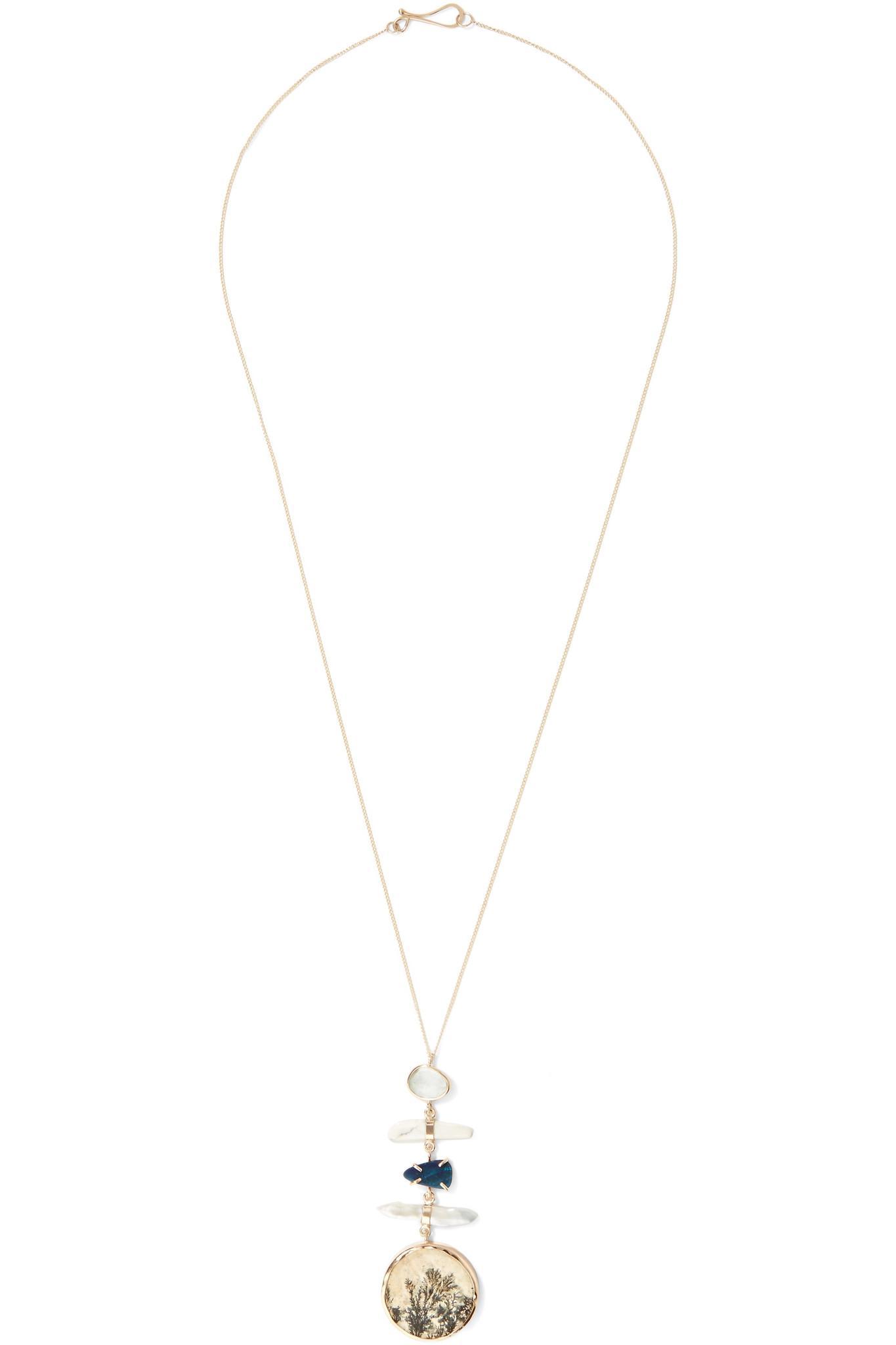 Melissa Joy Manning 14-karat Gold Multi-stone Necklace wUskS