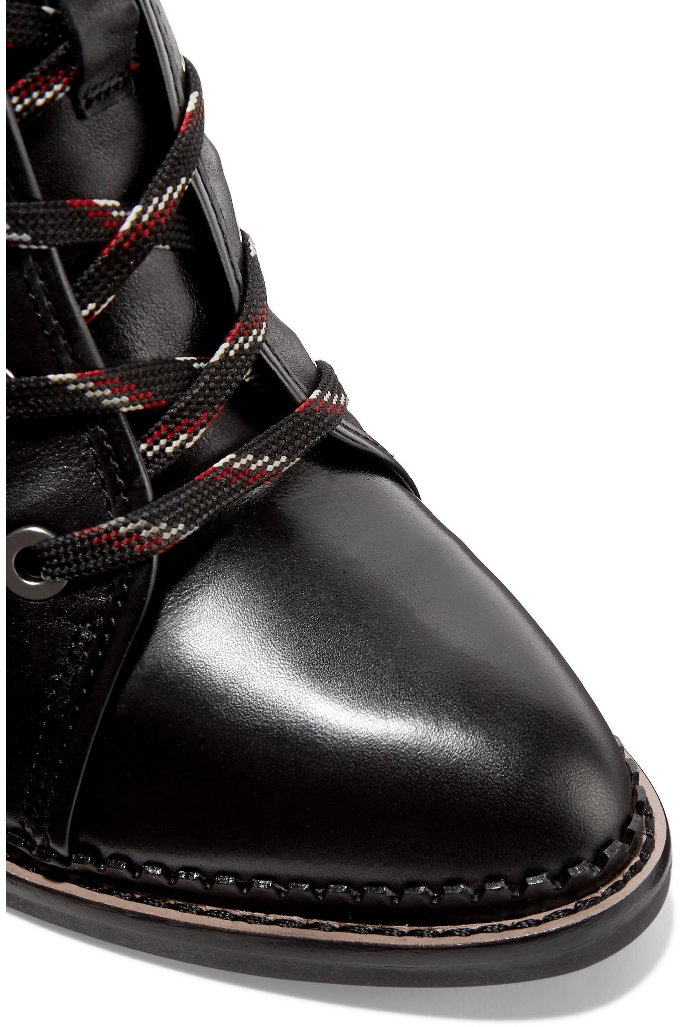 9fba004a5404d Sam Edelman Sondra Lace-up Leather Ankle Boots in Black - Lyst