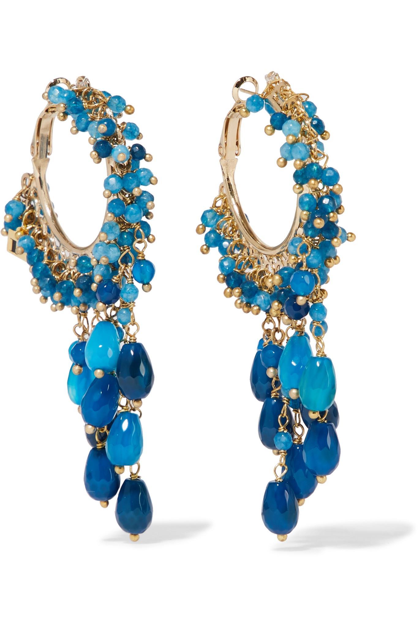 Vita Gold-tone Stone Clip Earrings - Blue Rosantica yTSl0klab