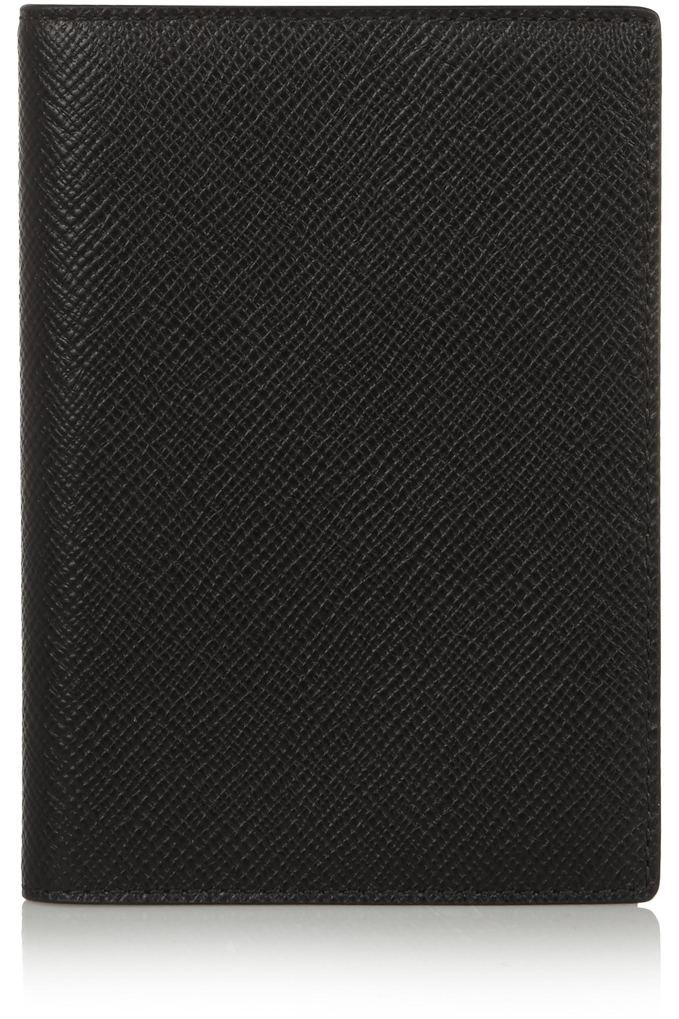 Textured-leather Passport Cover - Black Smythson haNUTQSC