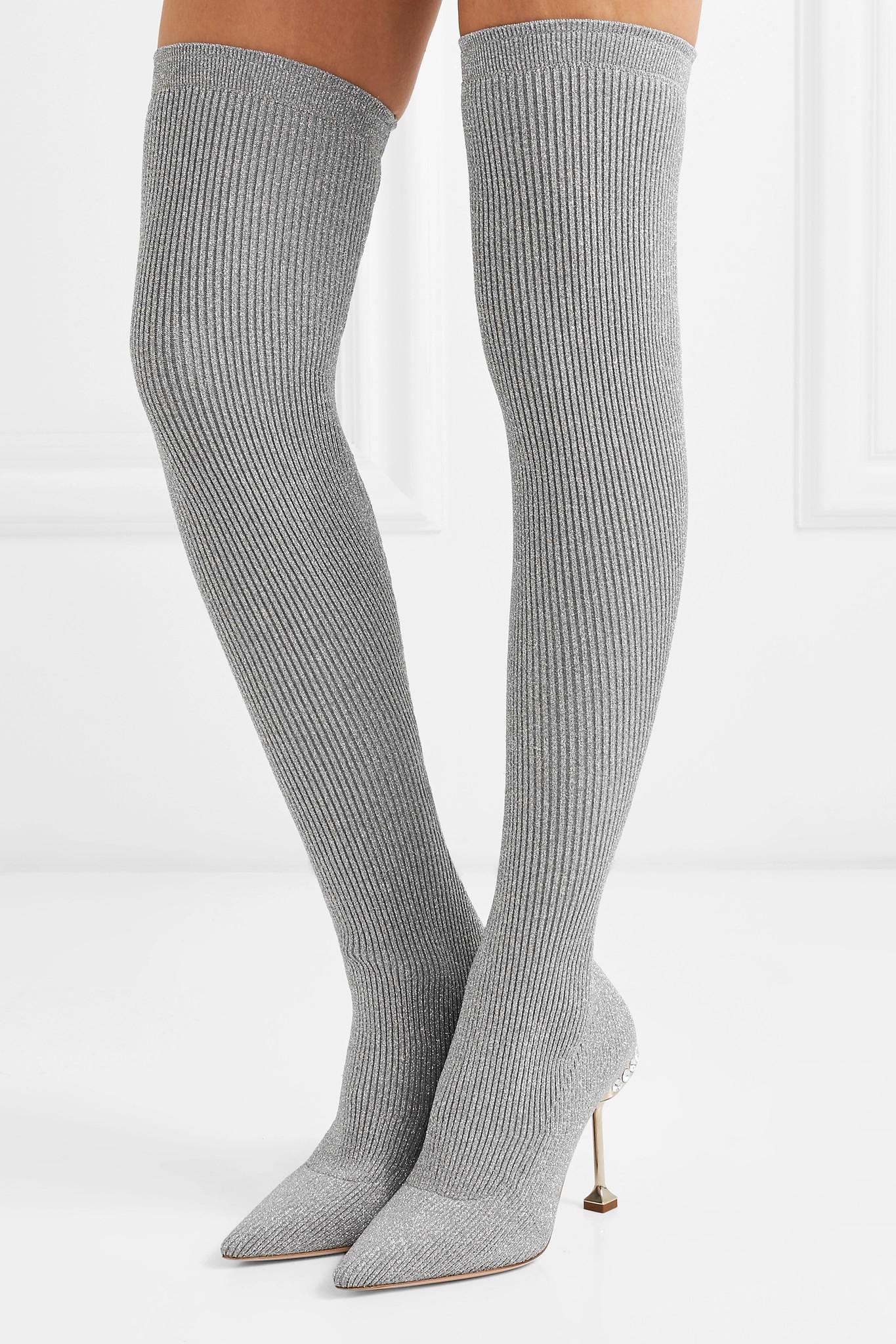 3e71c29b566 Miu Miu Crystal-embellished Metallic Ribbed-knit Over-the-knee Sock ...