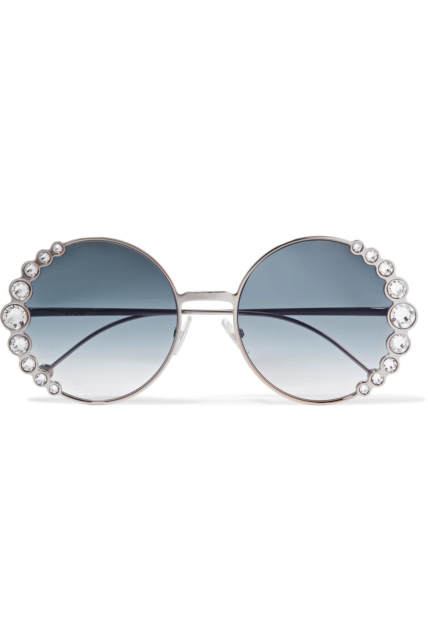 43333a0898 Lyst - Fendi Round-frame Crystal-embellished Gold-tone Sunglasses in ...