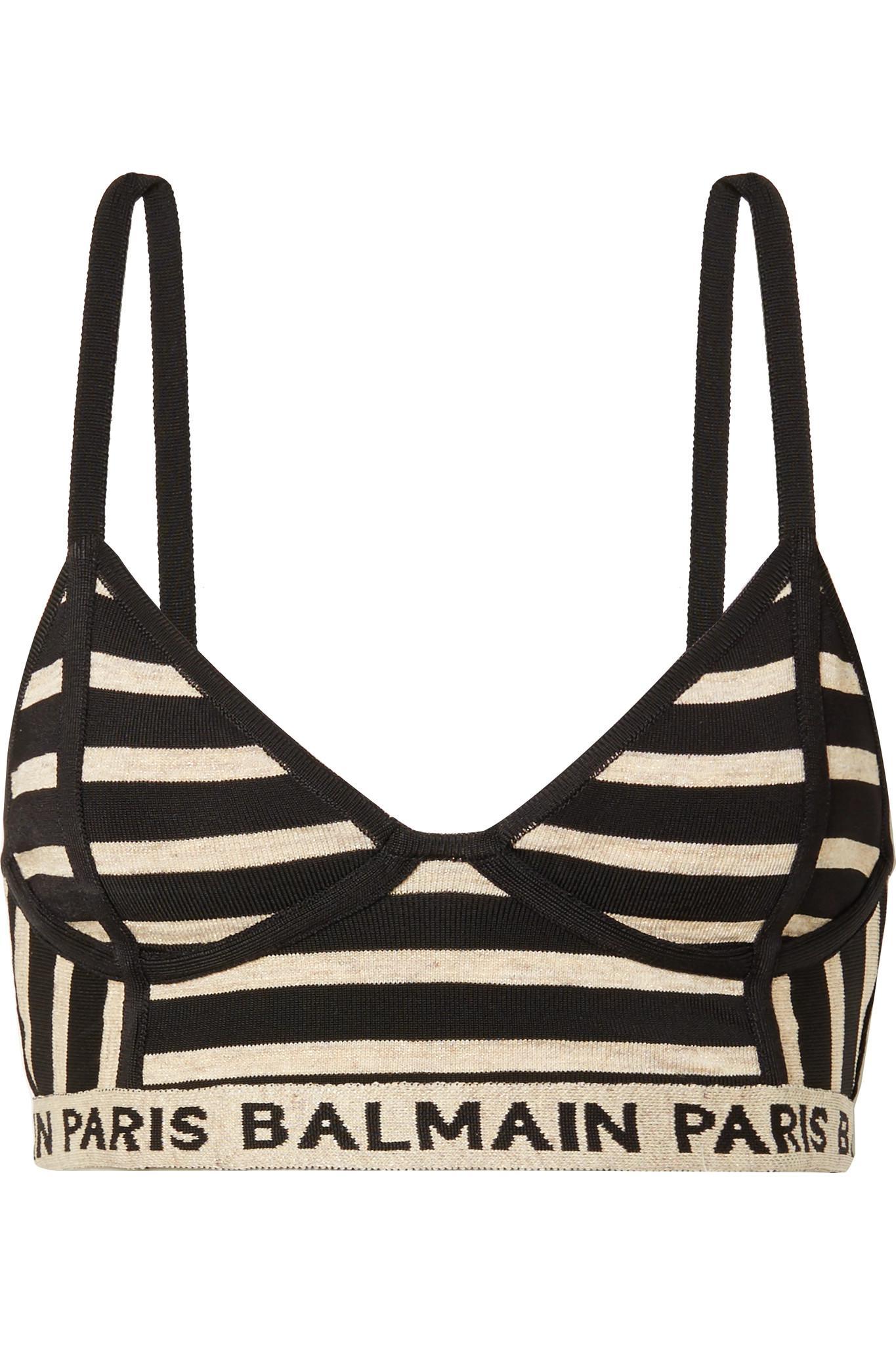c7114dab11 Balmain. Women s Black Metallic Intarsia-trimmed Striped Stretch-knit  Bralette