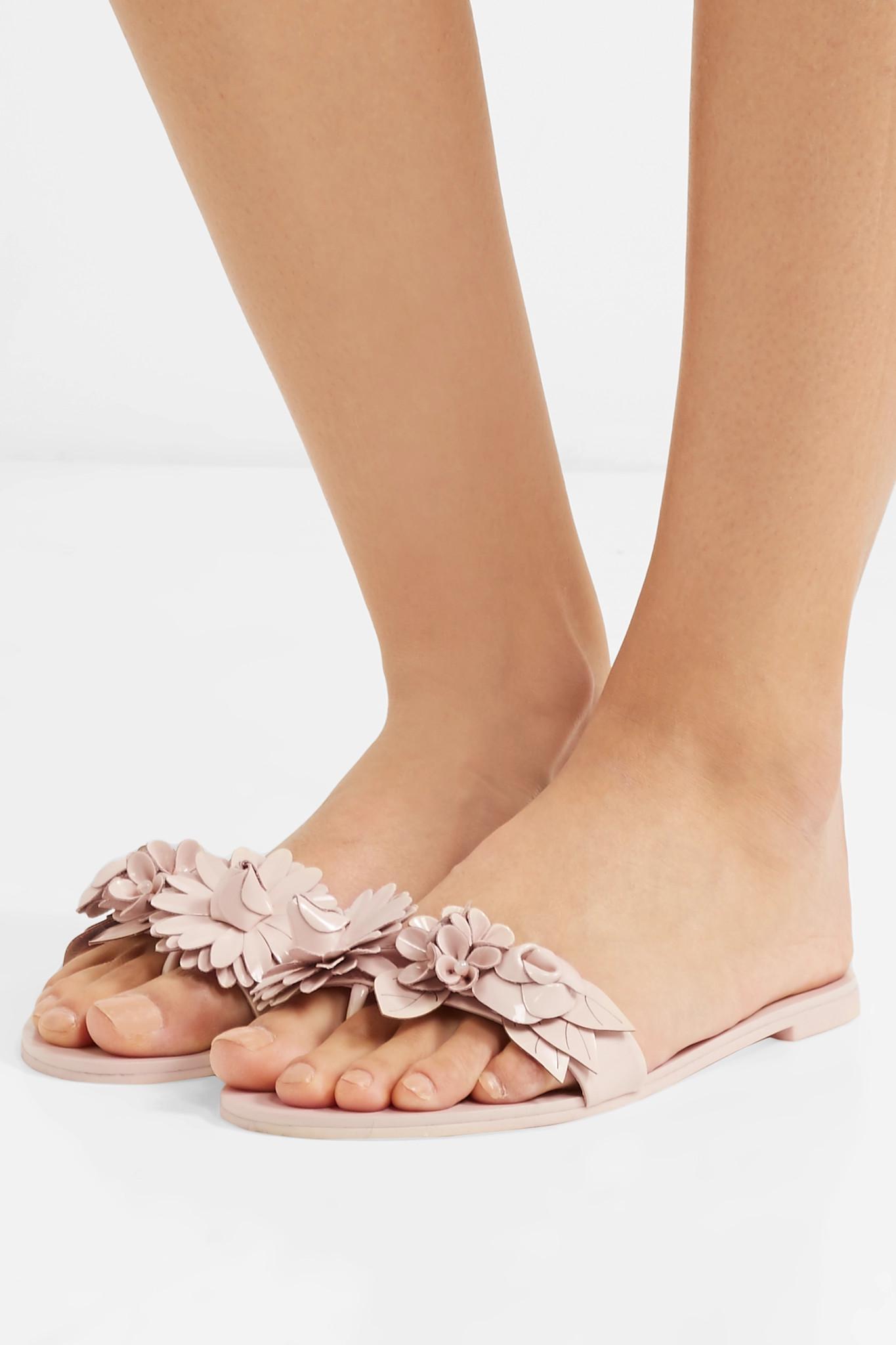 Recommend SOPHIA WEBSTER Lilico Embellished Patent-leather Slides - Blush Discount Outlet Best Wholesale Purchase Online Kre2ueHhzk