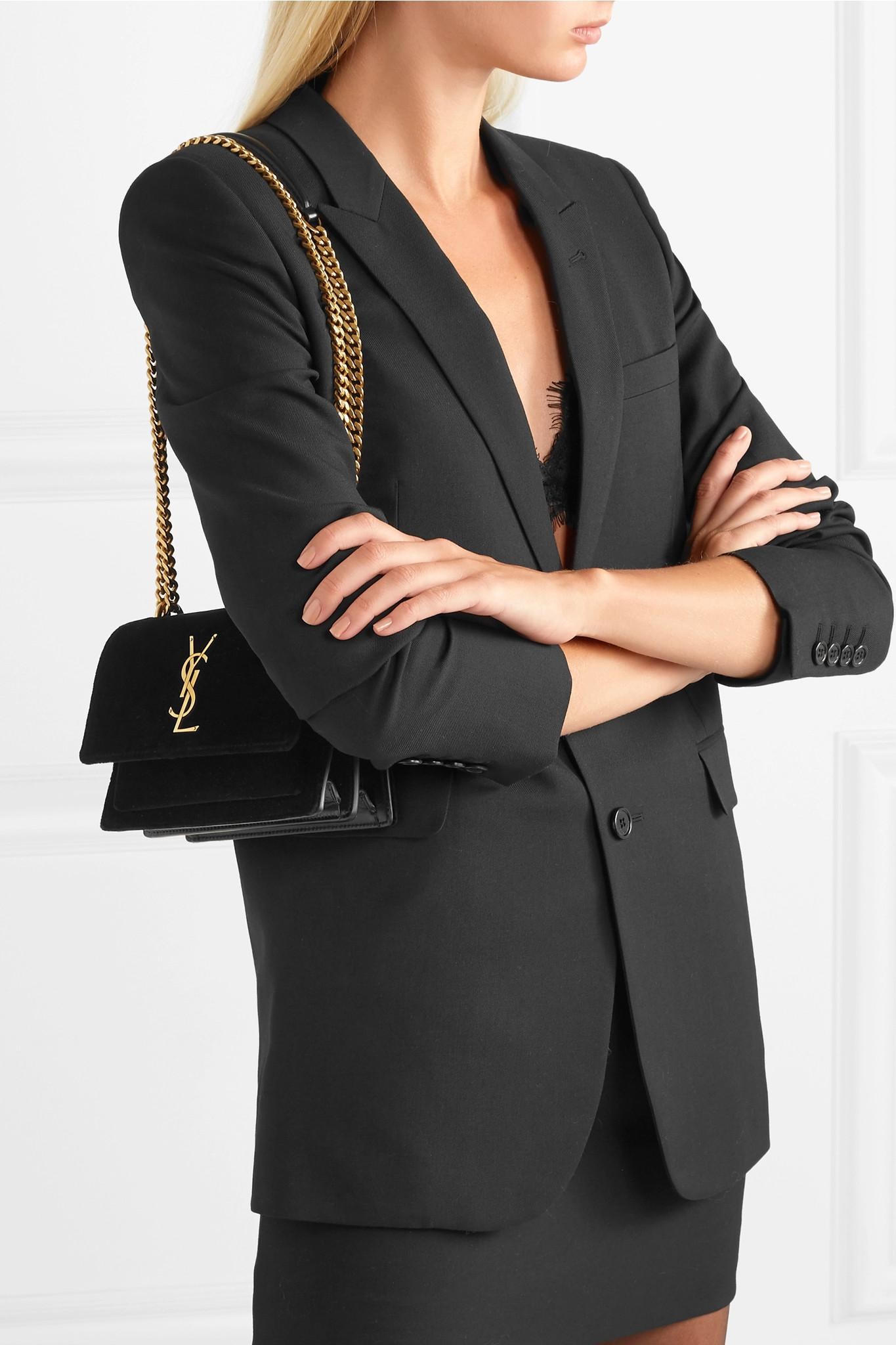 78570a049 Saint Laurent Sunset Small Velvet And Leather Shoulder Bag in Black ...