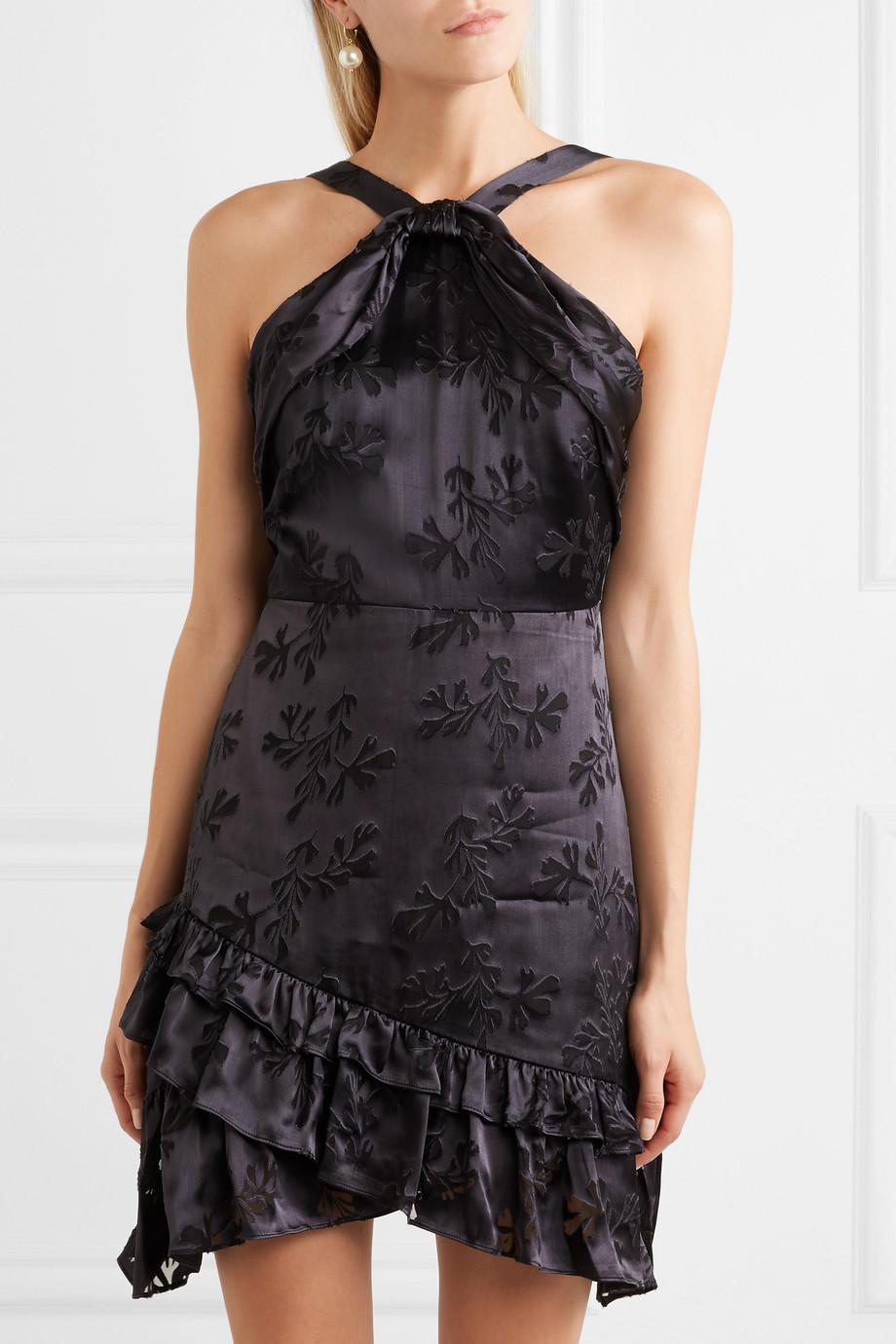 Faye Ruffled Satin-jacquard Mini Dress - Purple Saloni hlGdo2L