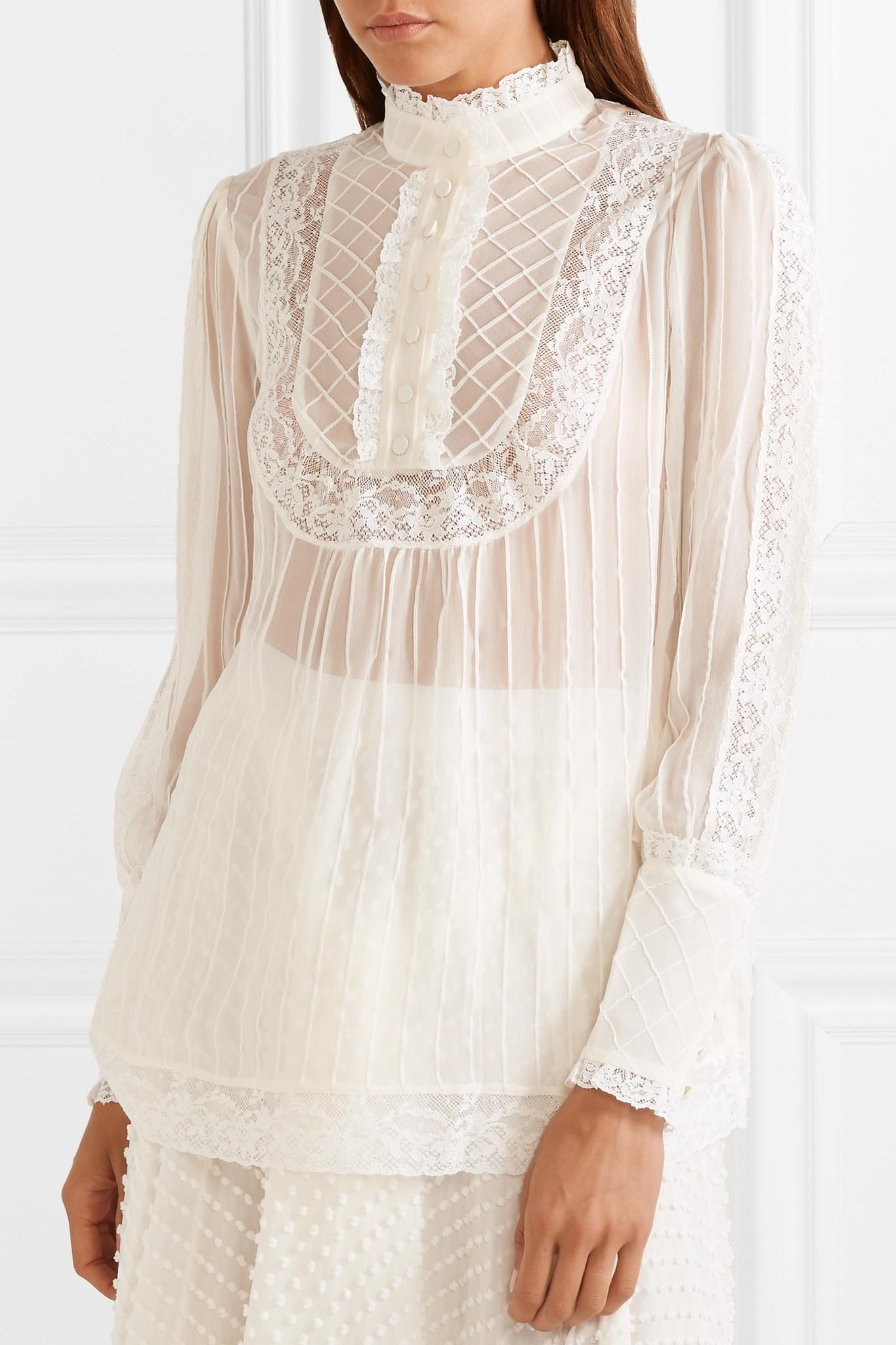 a7fa132f49f74 Lyst - Zimmermann Unbridled Lace-trimmed Silk-georgette Blouse in White