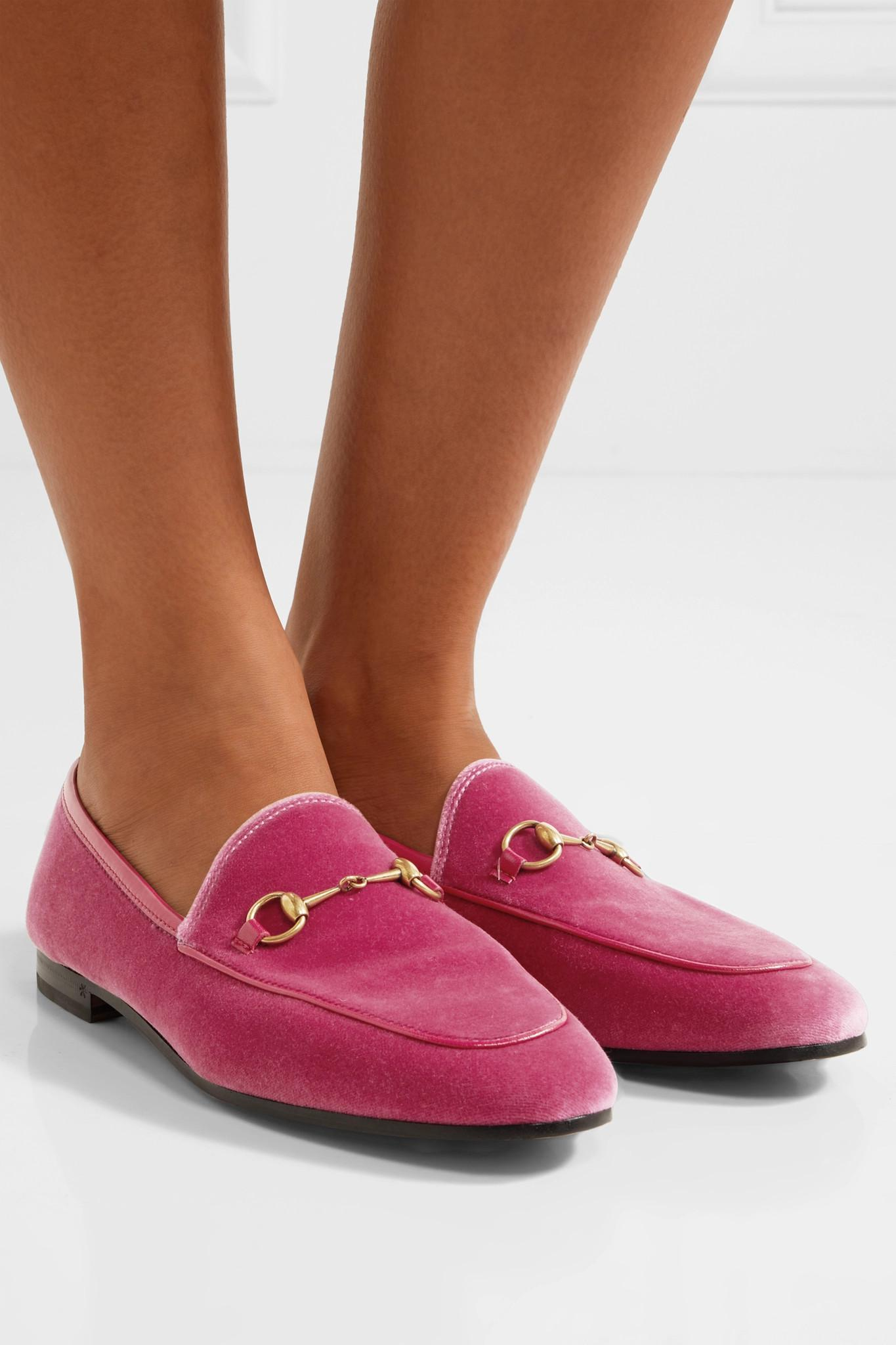 24e27601bb5 Gucci - Pink Jordaan Horsebit-detailed Leather-trimmed Velvet Loafers -  Lyst. View fullscreen